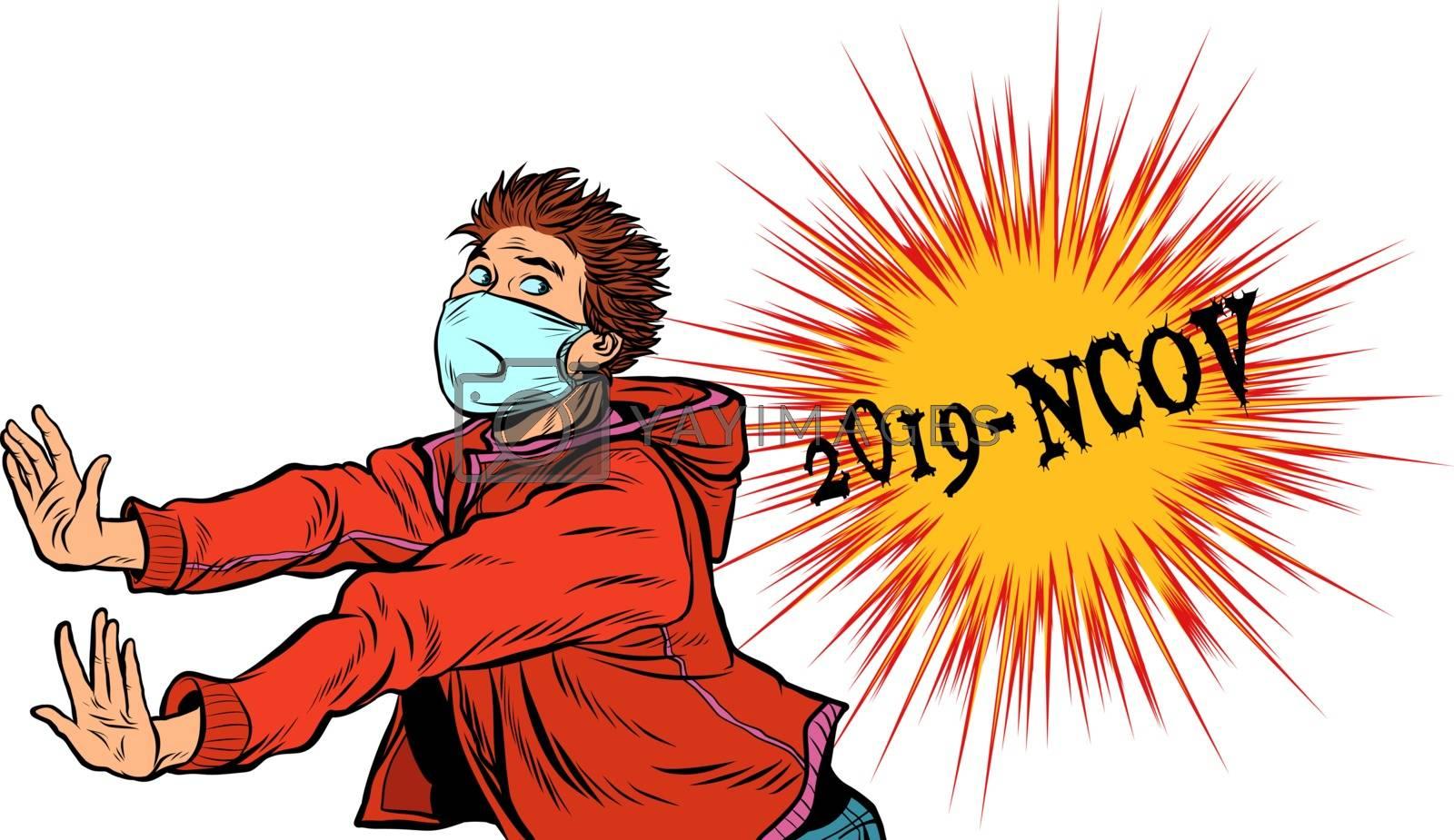Panic, a person is afraid of an epidemic. Novel Wuhan coronavirus 2019-nCoV epidemic outbreak. Pop art retro vector illustration 50s 60s style
