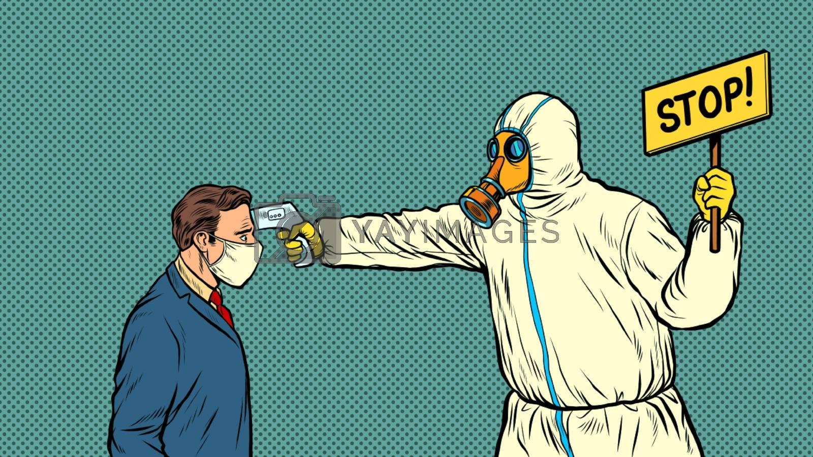 Temperature measurement Stop doctor quarantine. Novel Wuhan coronavirus 2019-nCoV epidemic outbreak. Pop art retro vector illustration 50s 60s style