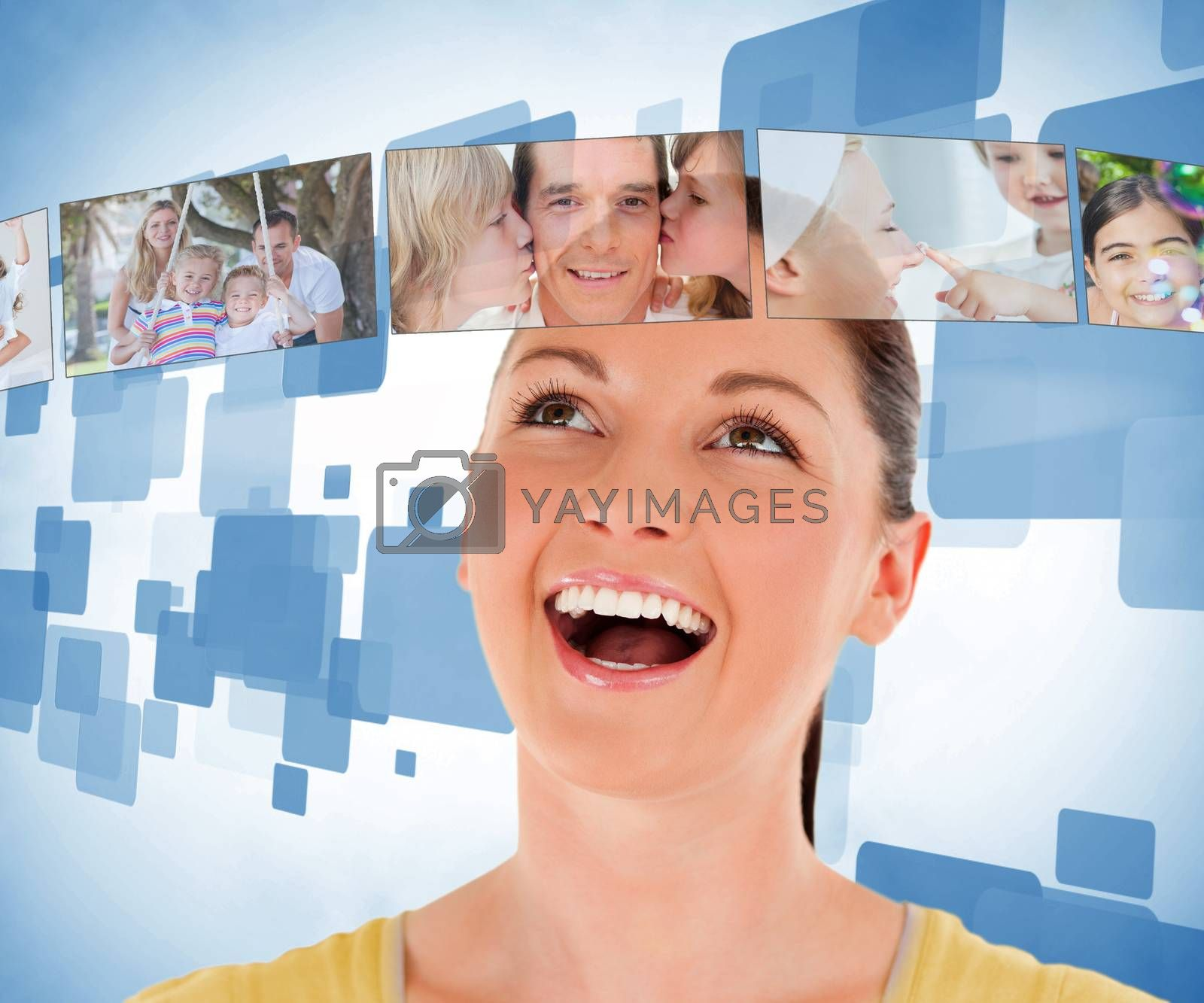 Brunette woman looking up the picture bar against blue background