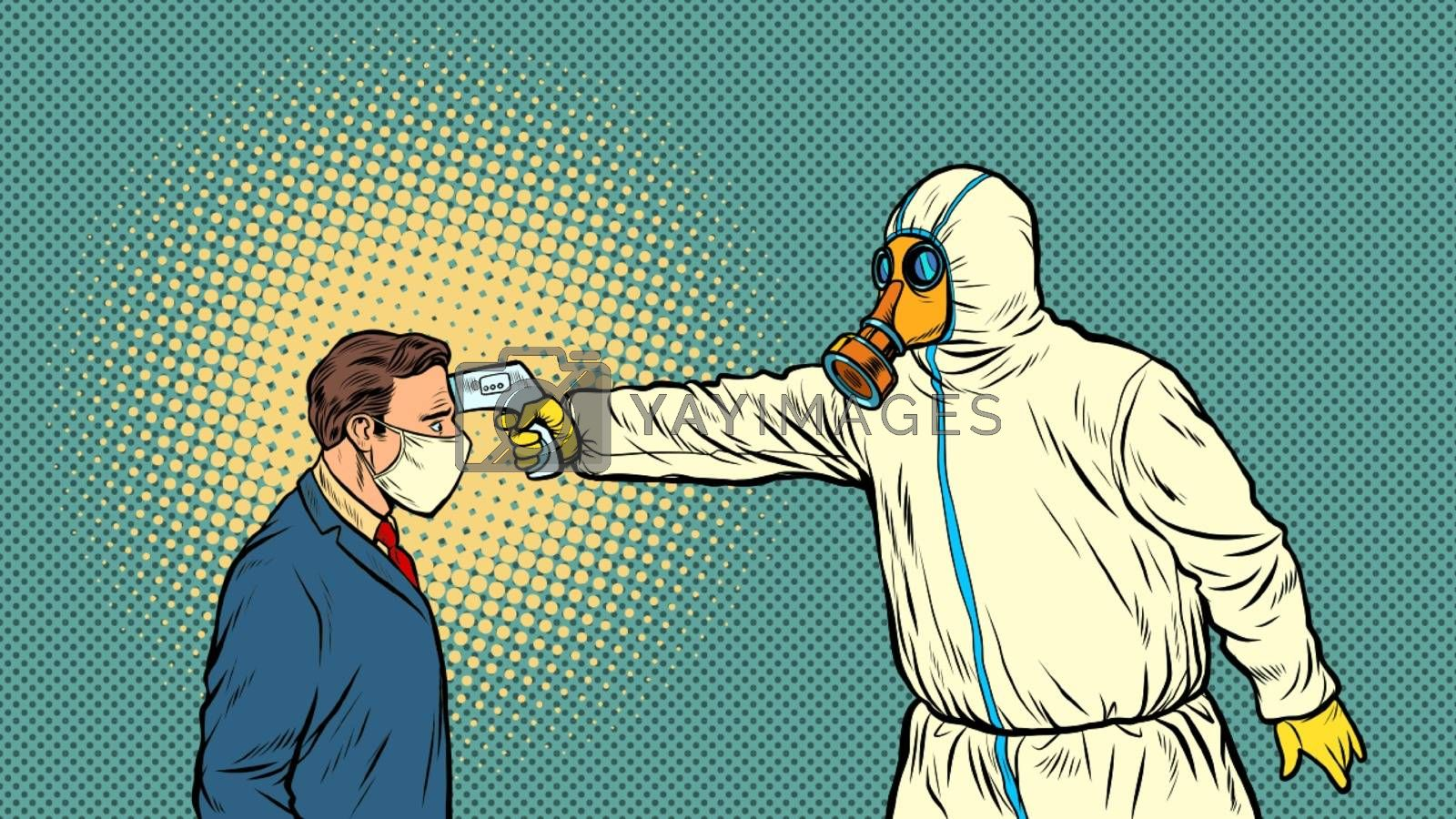 Quarantine at the border Novel Wuhan coronavirus 2019-nCoV epidemic outbreak. Pop art retro vector illustration 50s 60s style