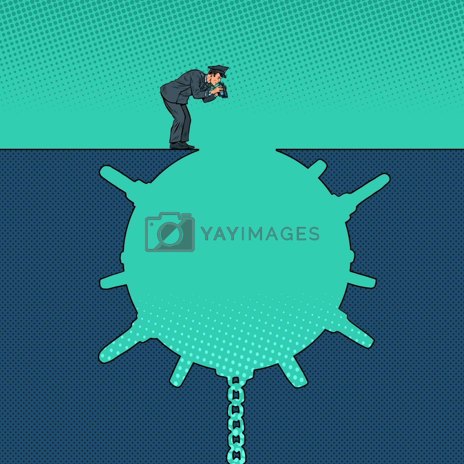 Man next to a deep pit silhouette. Pop art retro vector illustration 50s 60s style