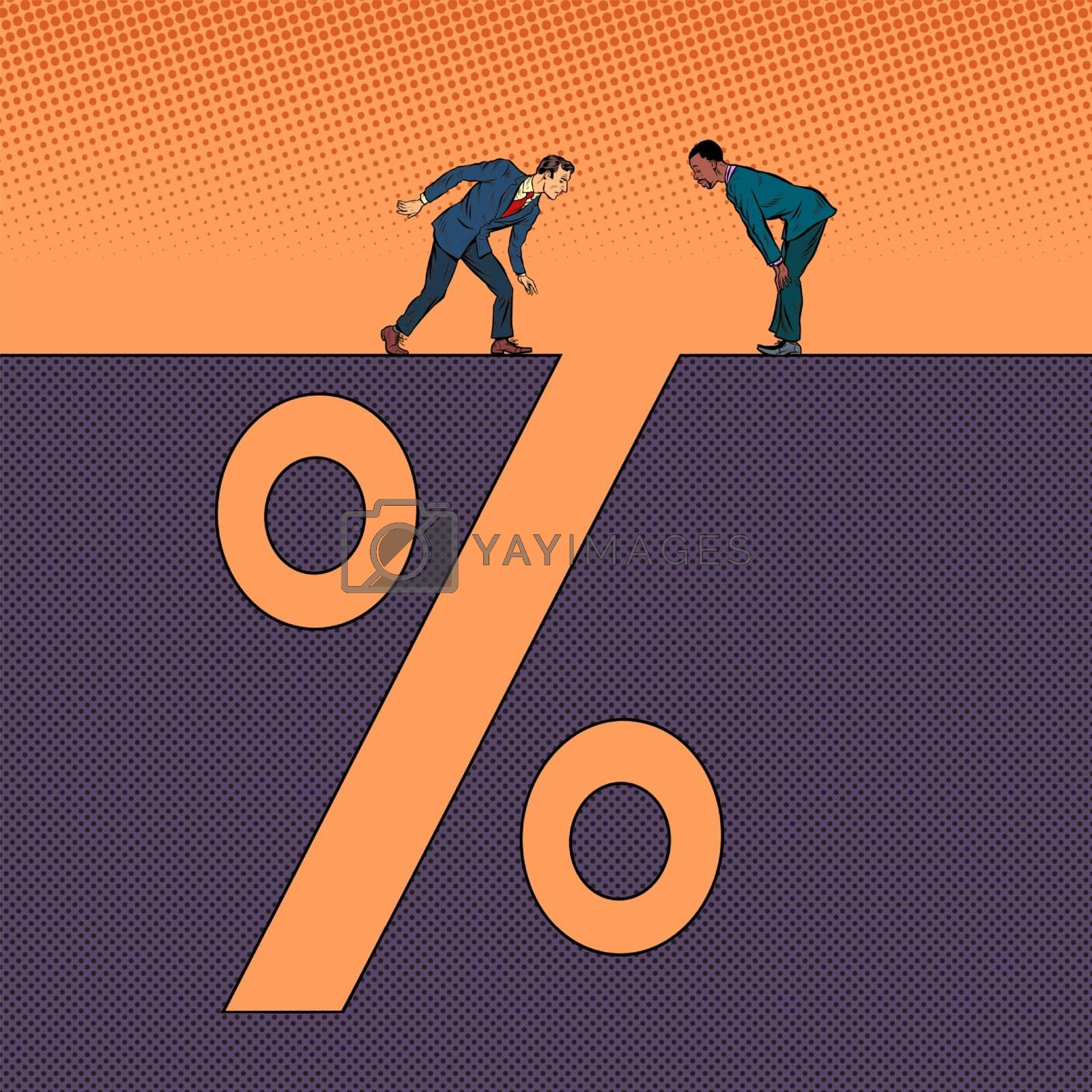 Businessmen and interest income. Man next to a deep pit silhouette. Pop art retro vector illustration 50s 60s style