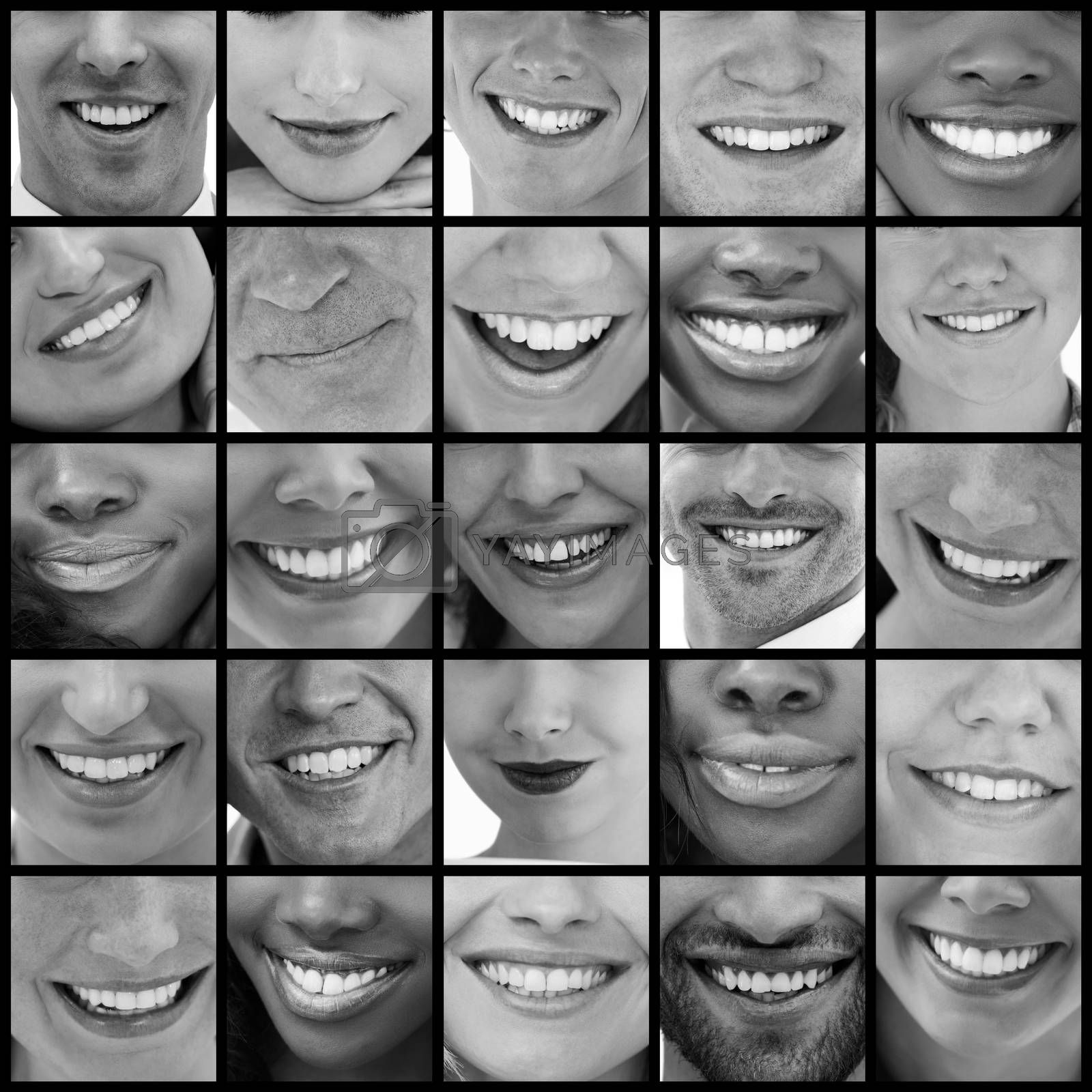 Collage of various pictures of people smiling in black and white