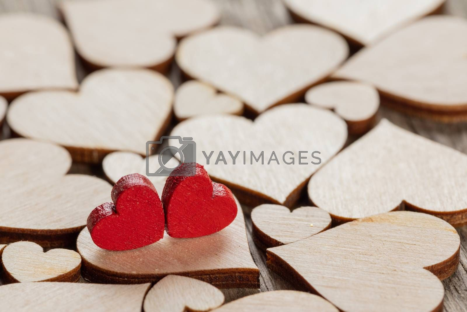 Many wooden colorless hearts background, two red special ones true love concept