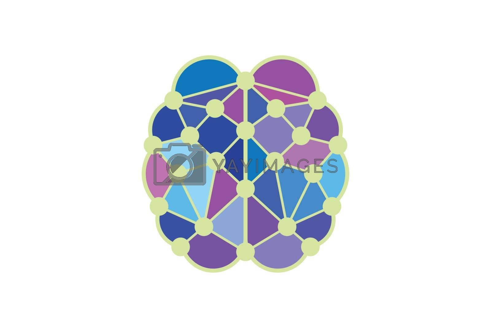 Brain connection logo design, digital brain logo template Brain logo