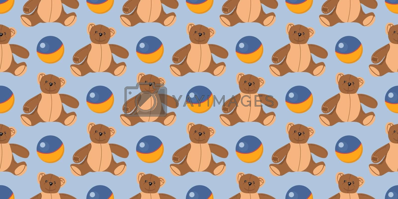 Children s seamless pattern. The ball for the game. Children s textiles and wrapping paper. Teddy bear toy