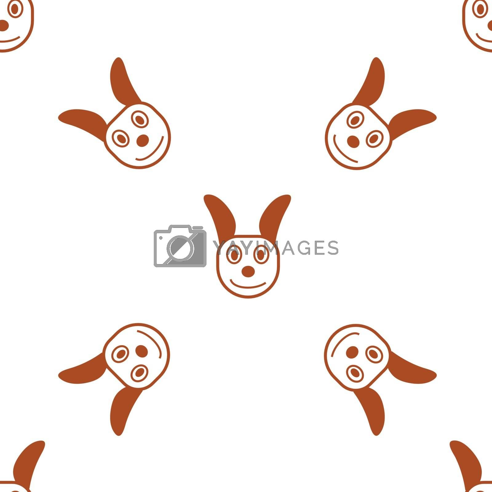 Seamless pattern with brown and white vector sketch of a dog head. Vector Illustration