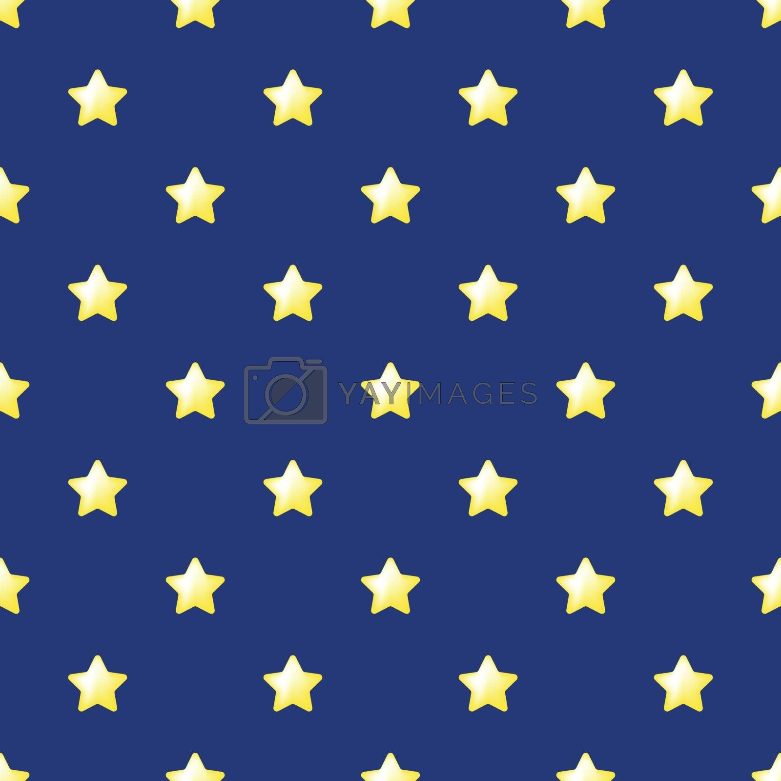 Seamless stars pattern vector. Yellow stars on blue background. Flat simple style for any web design or textile