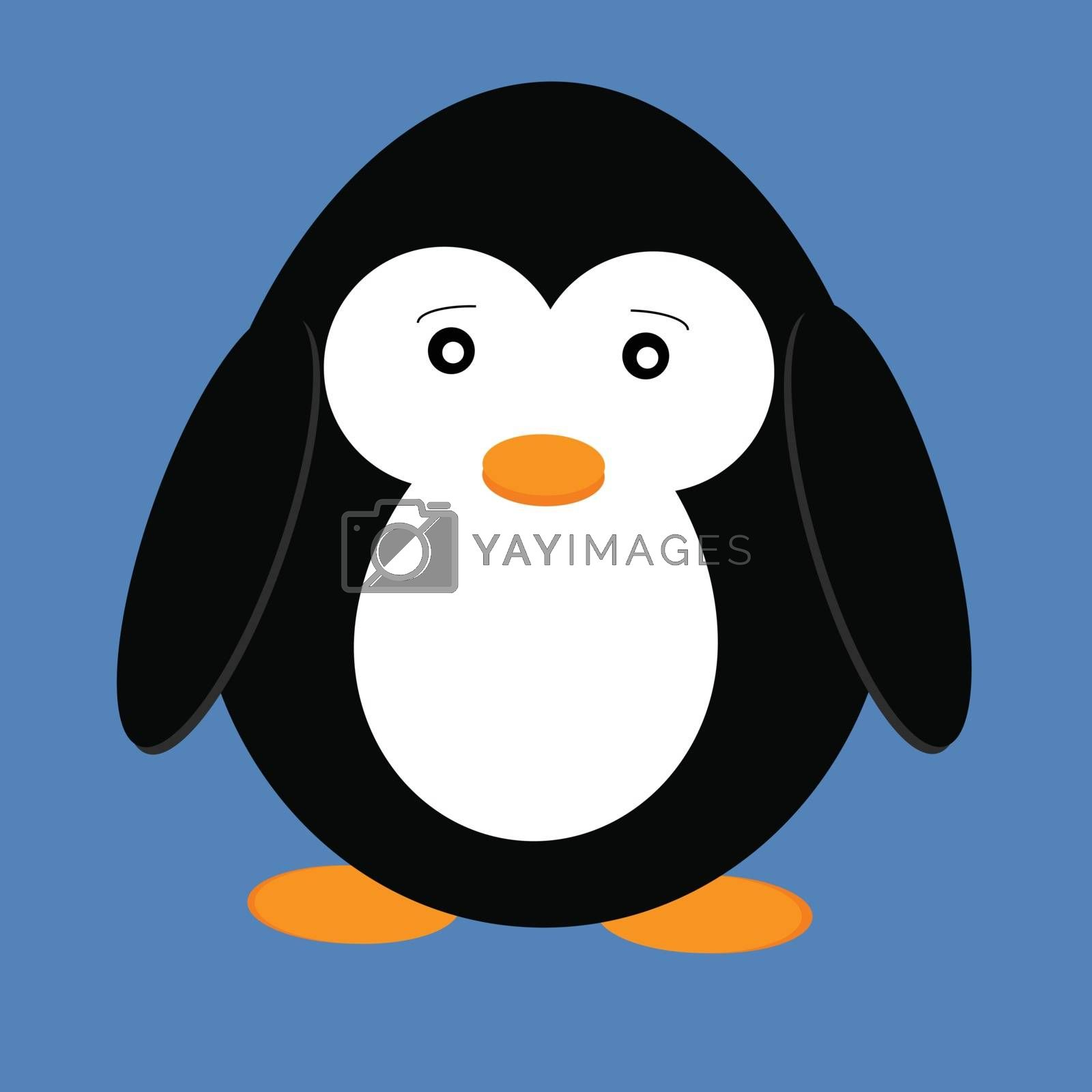 Vector illustration of cute cartoon penguin isolated on blue background. Animal from the cold continent, the Arctic inhabitant