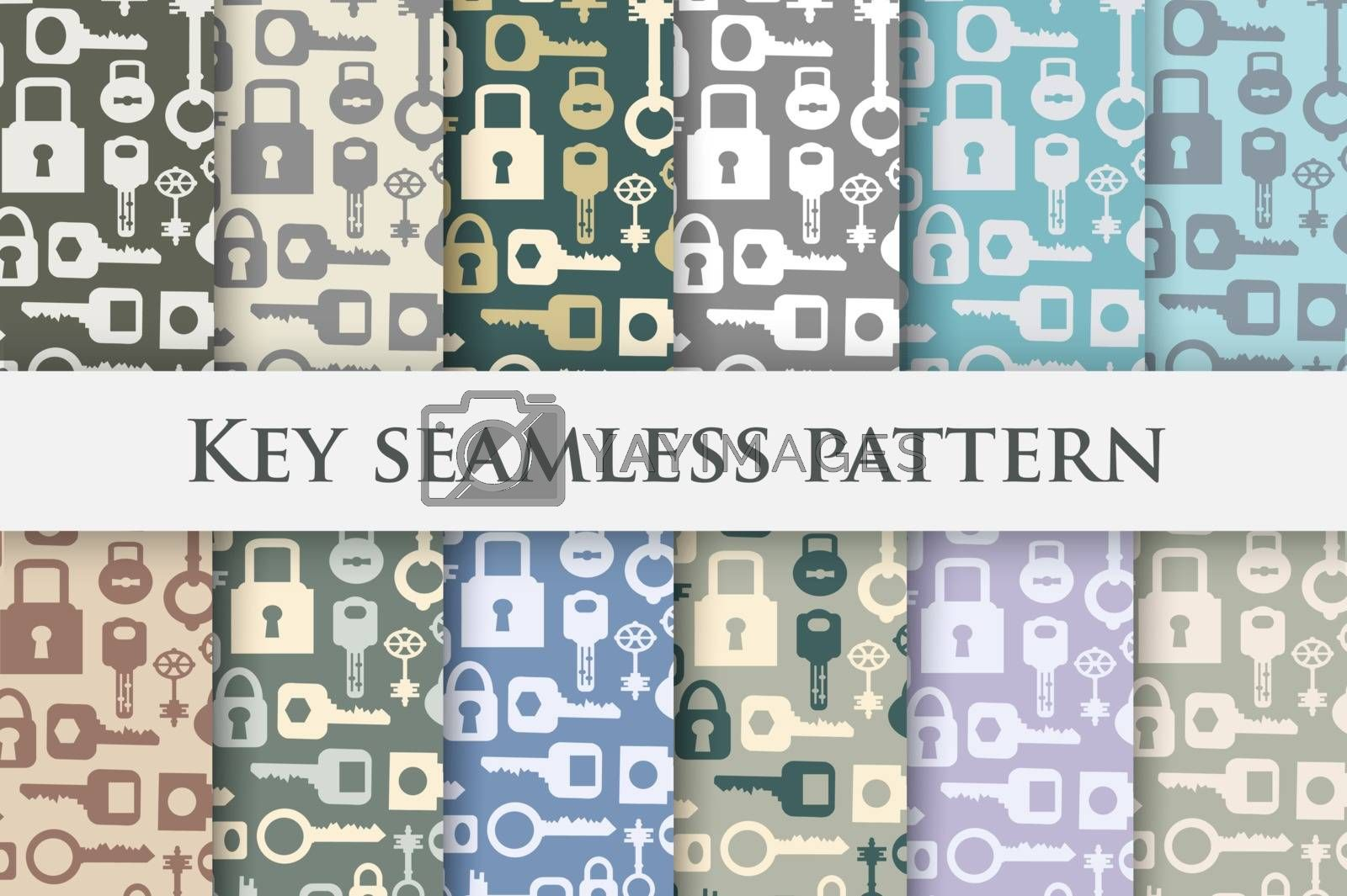 Set Backgrounds key repeating seamless pattern in vintage retro style