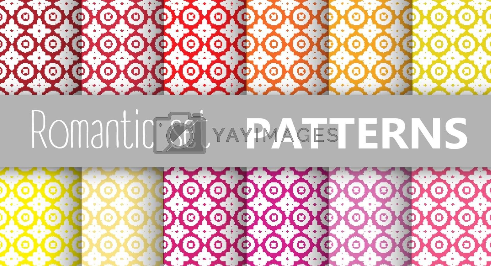 Pastel retro vector patterns tiling. Endless texture can be used for printing onto fabric and paper or scrap booking, surface textile, web page background. Flower abstract shapes