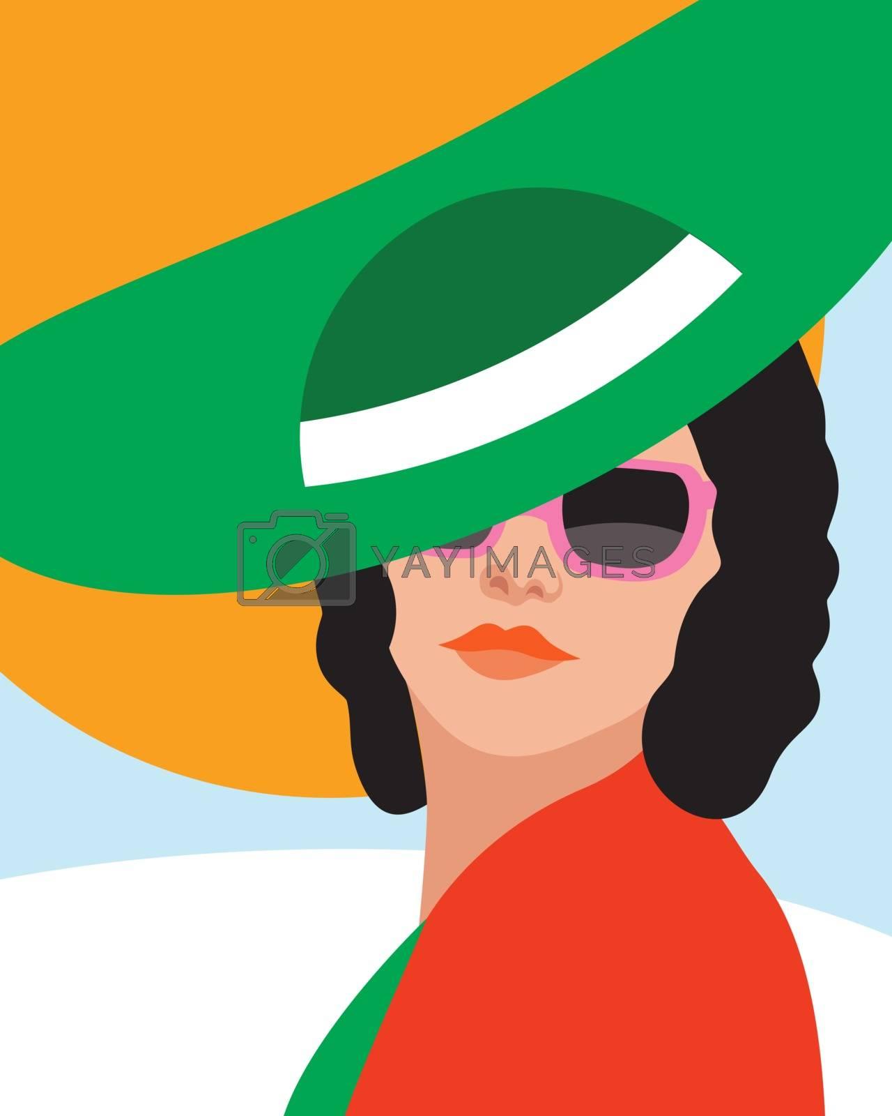 Fashion woman with hat . Art portrait.    Flat design. Vector