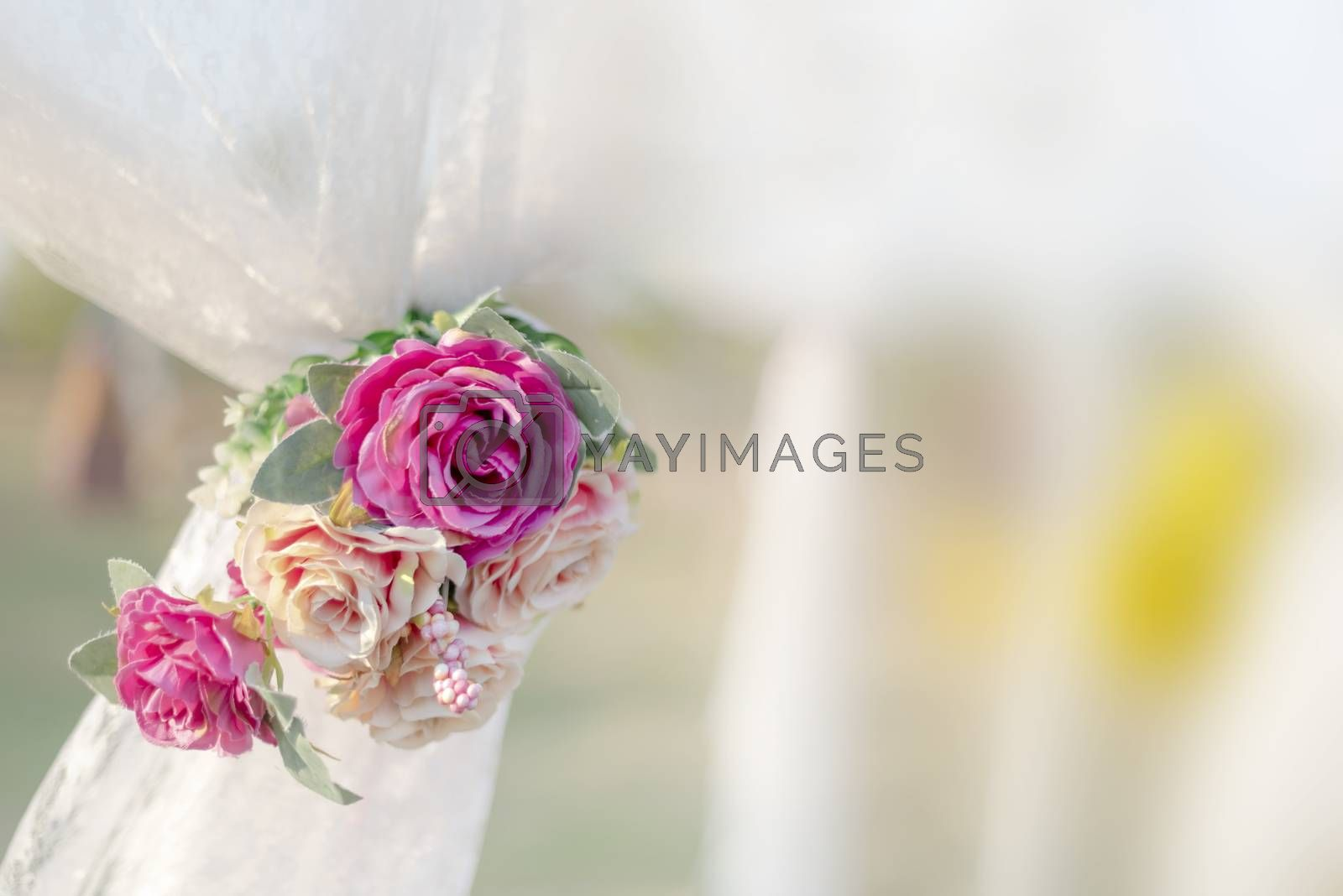 colorful of the plastic flowers bouquet , soft of focus