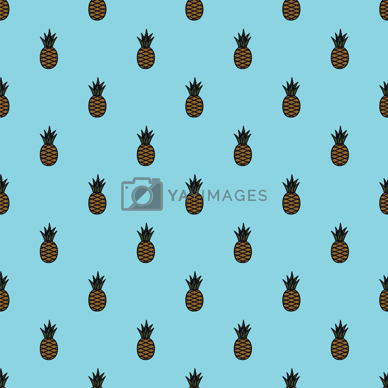 Seamless pineapple pattern. Cartoon pineapples on blue background. Tropical fruits pattern for textile, wallpapers, web, food seasonal card. Vector illustration