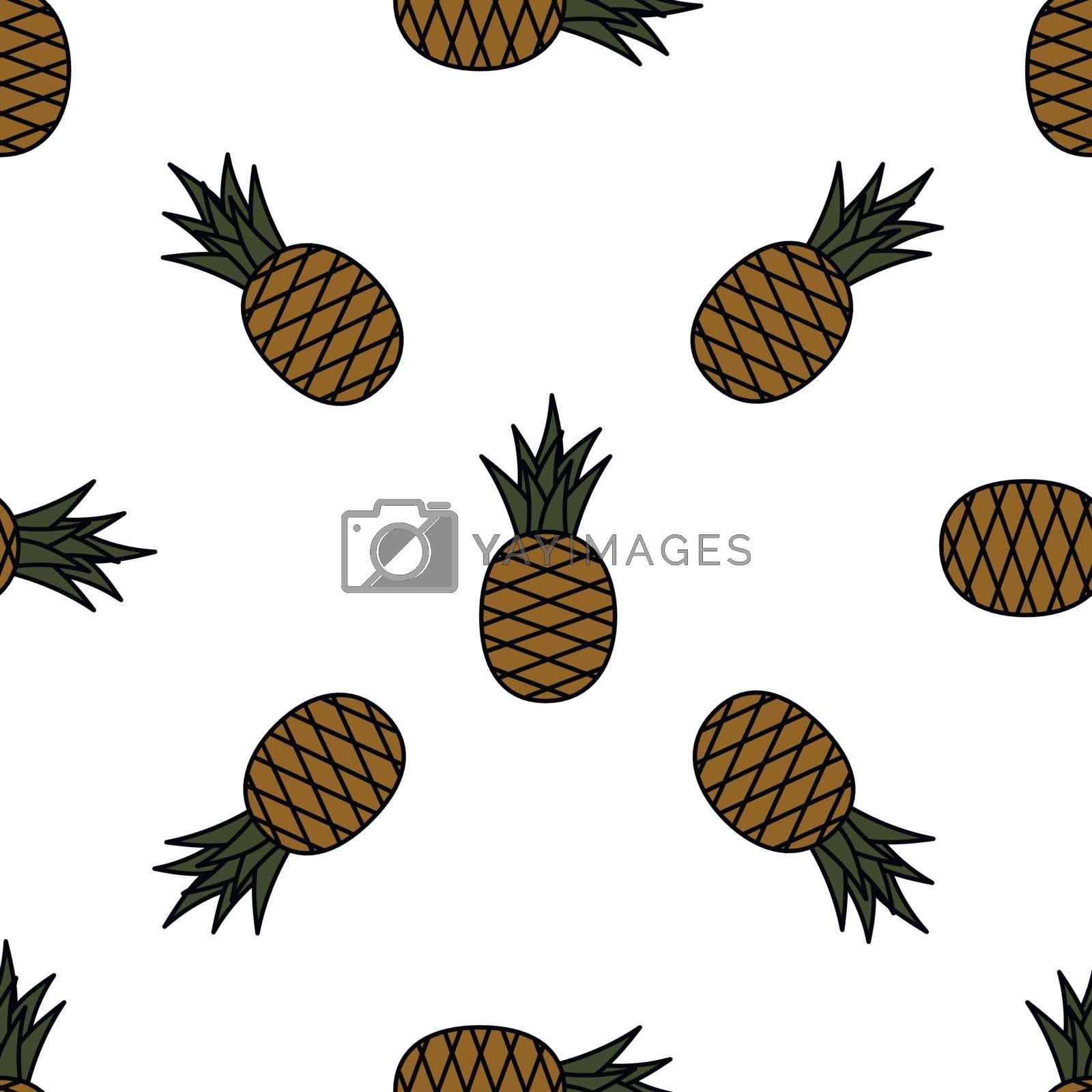 Seamless pineapple pattern. Cartoon pineapples on white background. Tropical fruits pattern for textile, wallpapers, web, food seasonal card. Vector illustration