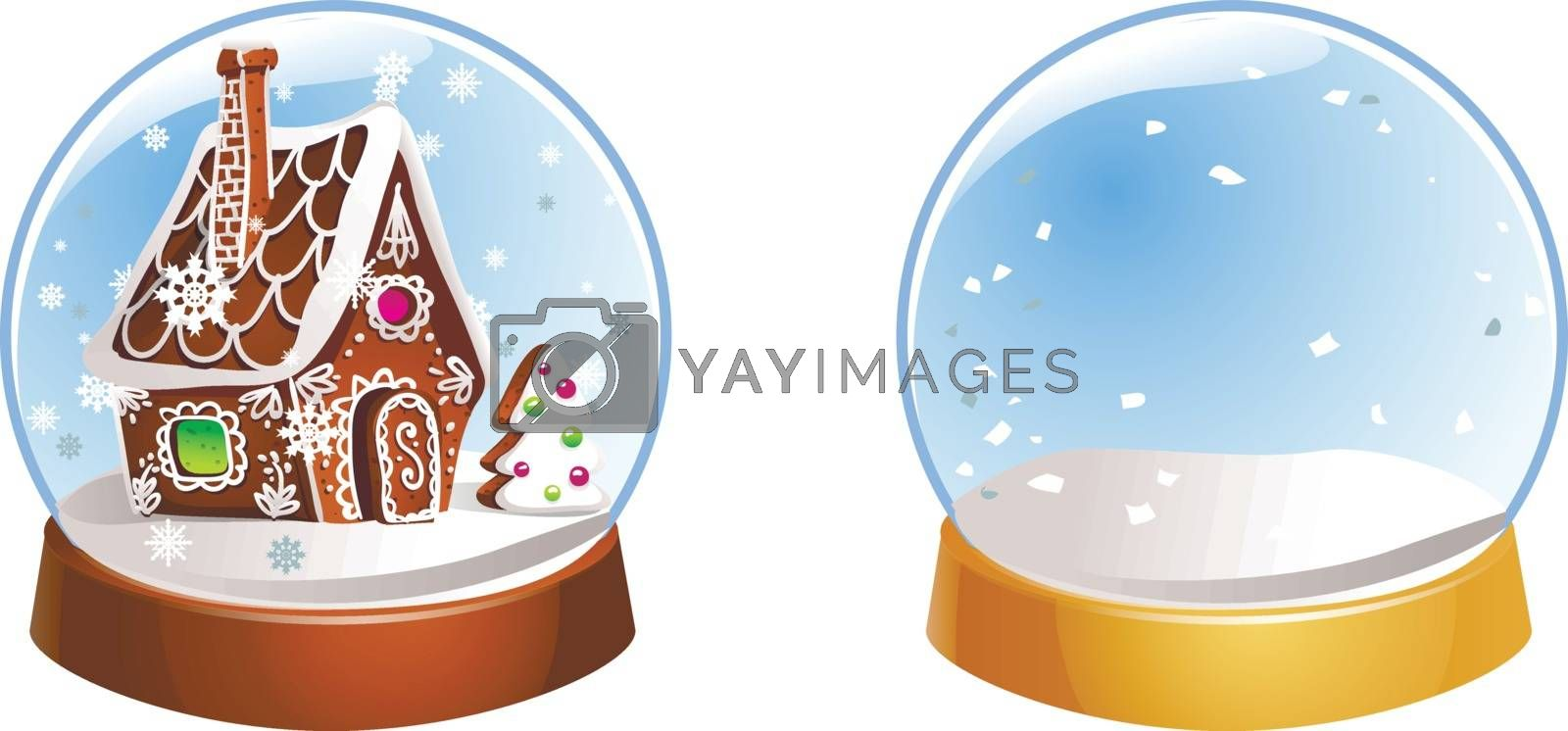 Two Christmas snow globes with snowflakes isolated on white background. Vector illustration. Winter in glass balls