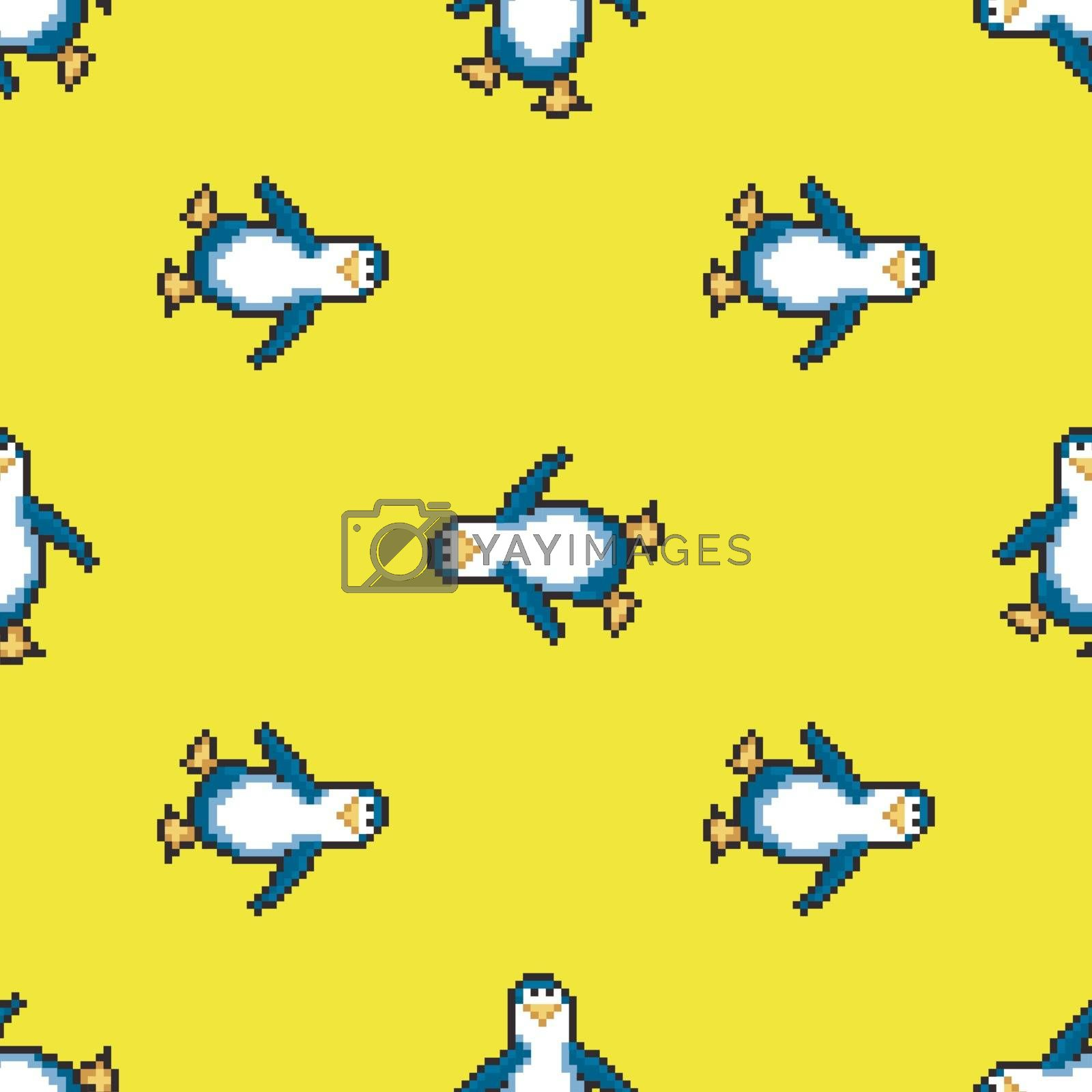Seamless pattern with penguins on yellow background. Cute pixel penguins. 8 bit vector illustration. Winter animals pattern