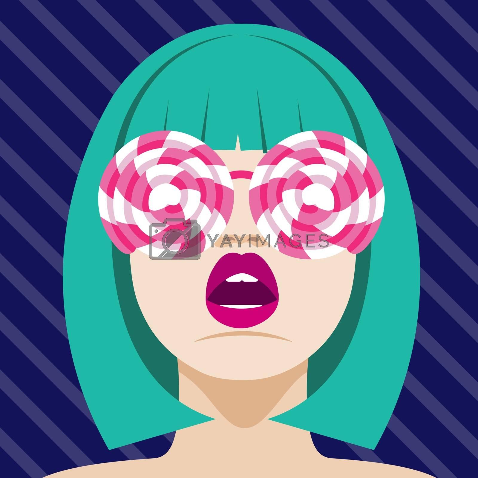 Fashion woman with lollipops sunglasses . Art portrait.  Flat design. Vector.