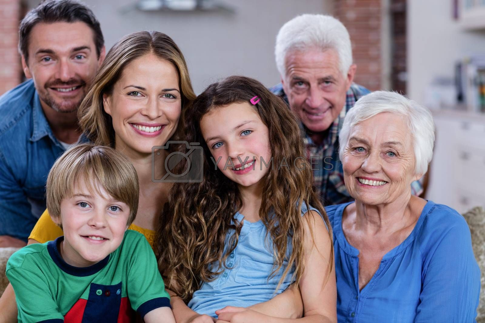 Portrait of multi-generation family at home by Wavebreakmedia