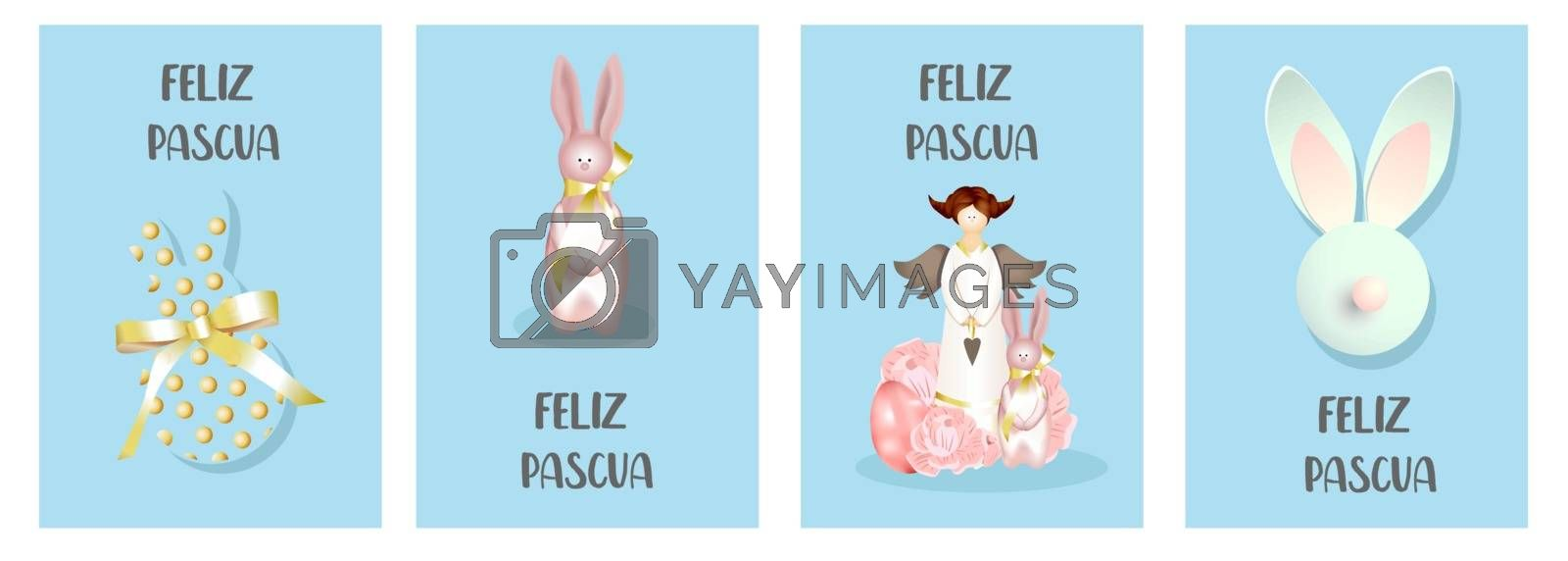 Set of easter cards. Bunny Rabbit, Chicken and Spring Decor. Happy easter. Translation from Spanish: Happy Easter.