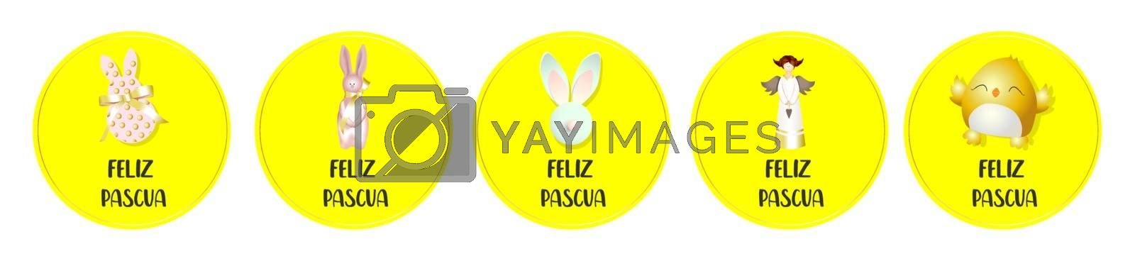 Easter stickers. Round badges. Chicken, angel, bunny. Spring design Translation from Spanish HAPPY EASTER