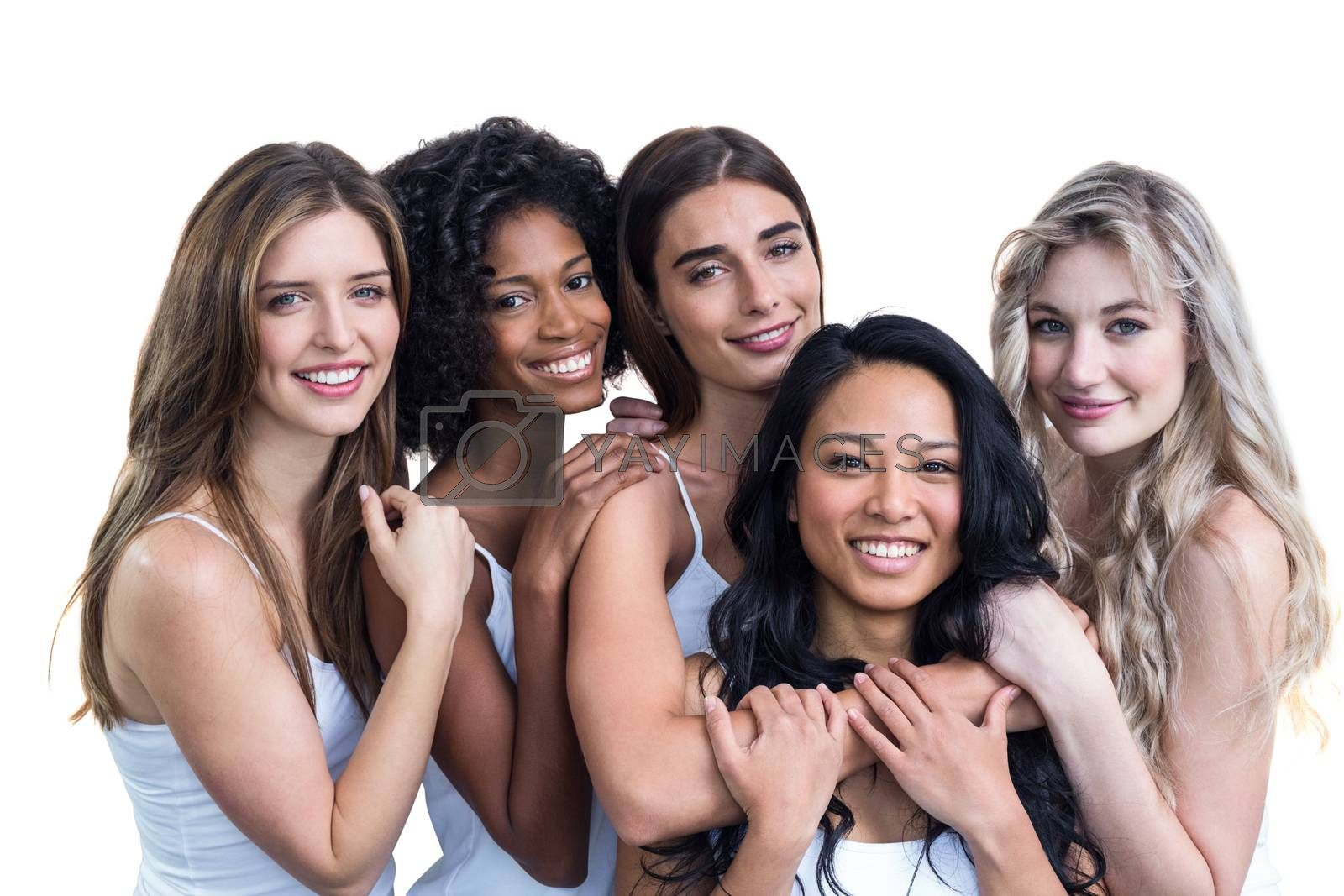 Multiethnic women embracing each other on white background