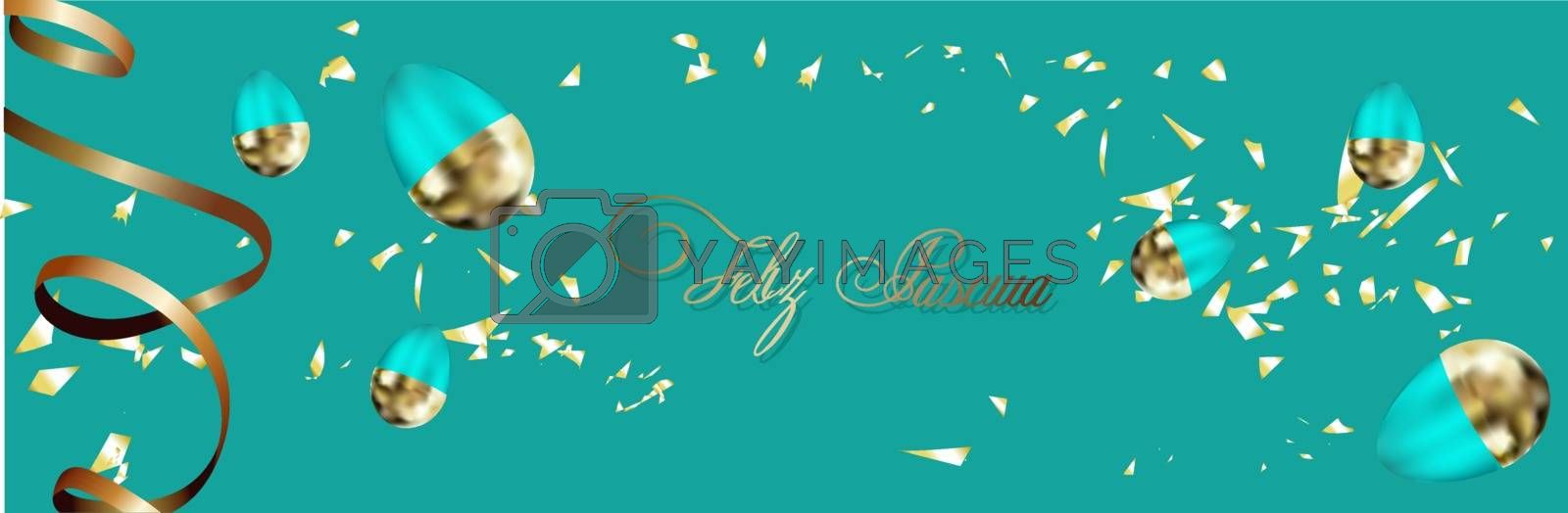 Easter background with place for text. Banner or poster for Easter. Blue. Golden eggs. Spring Break. Promotions and sales. Website header..
