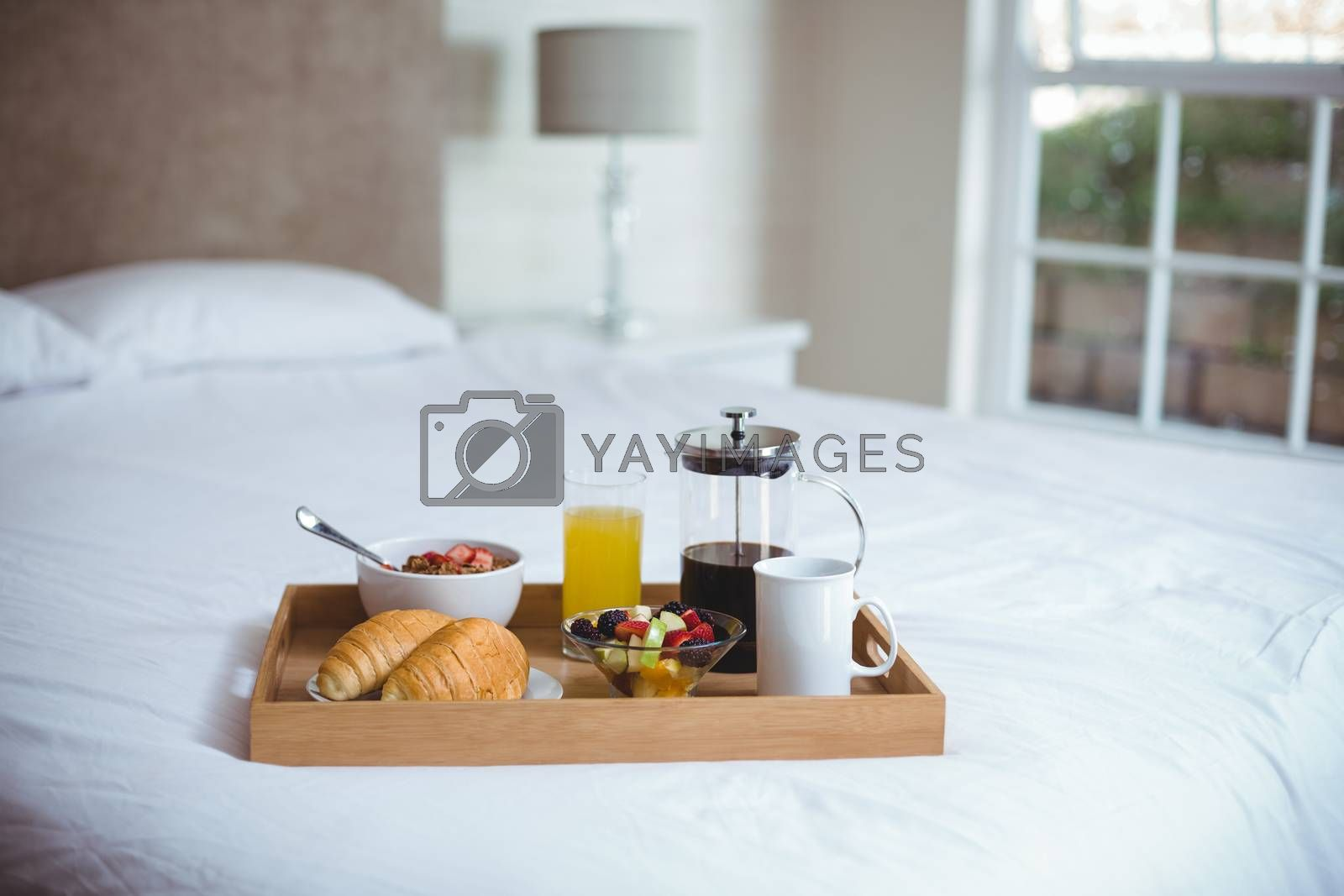 Food and drink in serving tray by Wavebreakmedia