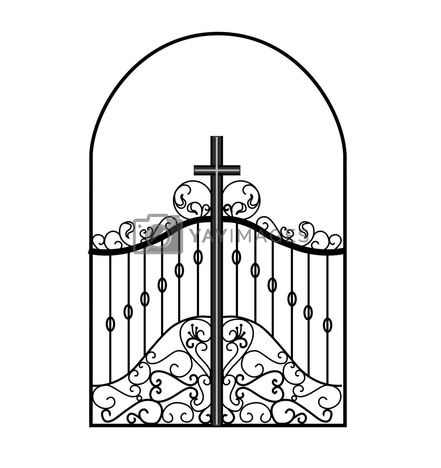 Gates forged sketch. Artistic forging. Iron door design. Vector illustration isolated on white background. Exterior. Garden gate..