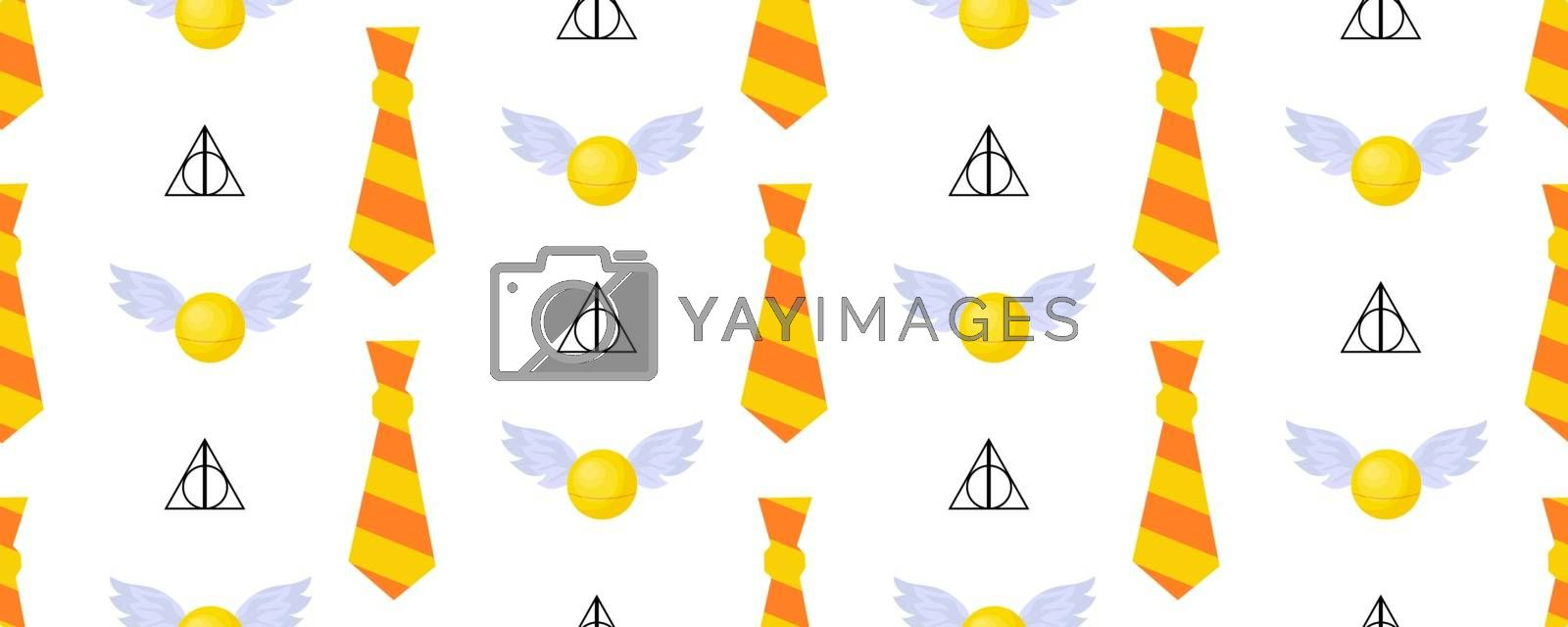 Seamless vector pattern. Children's design. Gryffindorf characters. The tie is striped. Orange and yellow. Magic Snitch.