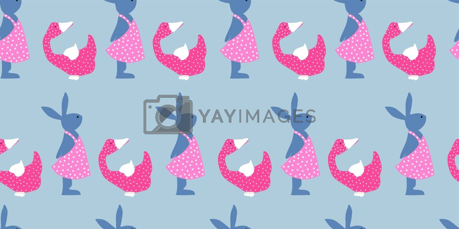 Easter background. Bright seamless pattern. Easter bunnies. Blue and pink.