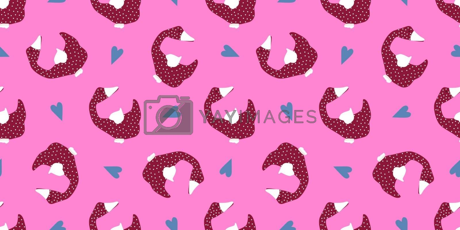 Seamless vector pattern. Bright design. Goose on a pink background. Easter decoration.