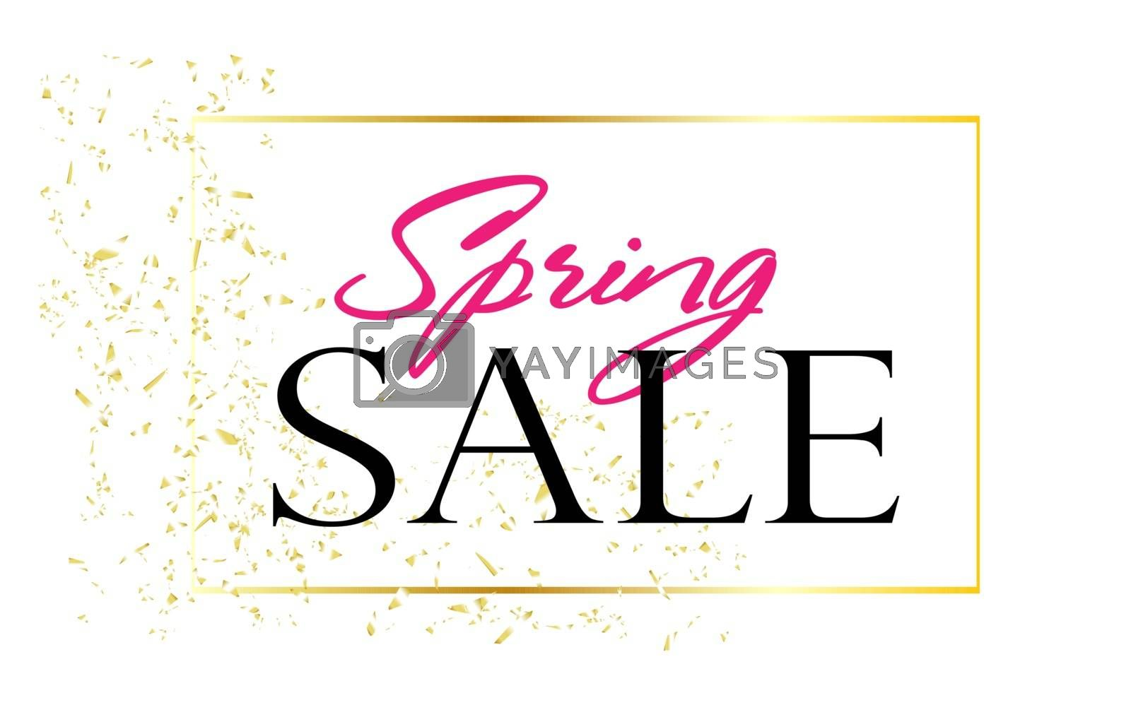 Big sale. Spring discounts. The inscription on a white background. Golden frame and confetti. Spring season.