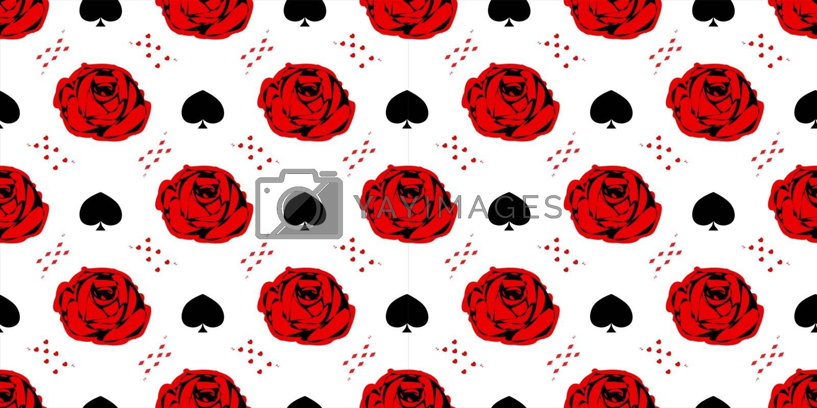 Red Rose. Playing cards. Wonderland. Seamless pattern. Children's fairy tales Alice