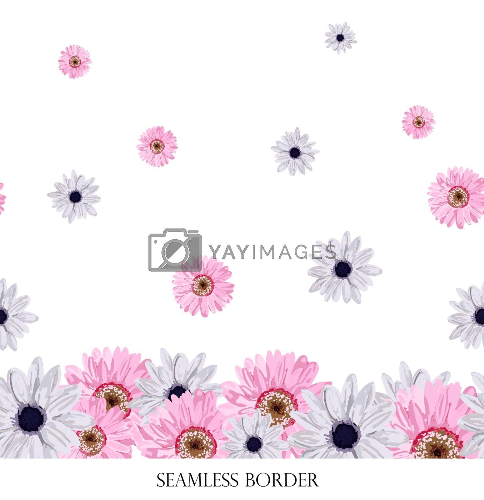 Spring flower pattern. Fresh flowers. The border is endless. Beautiful seamless pattern. Perfect design for fabric and textile.