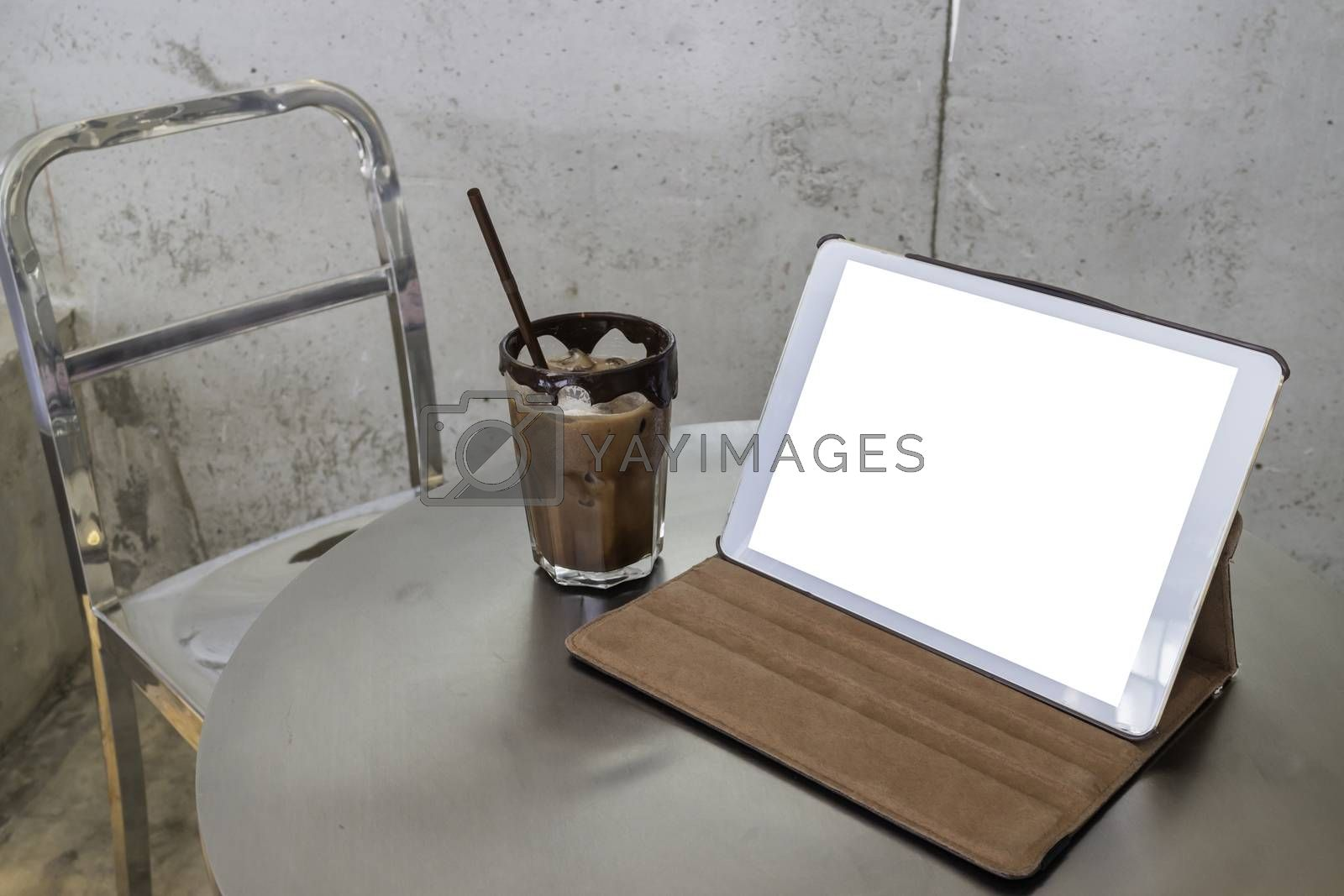 Mobile working in coffee shop with table, stock photo