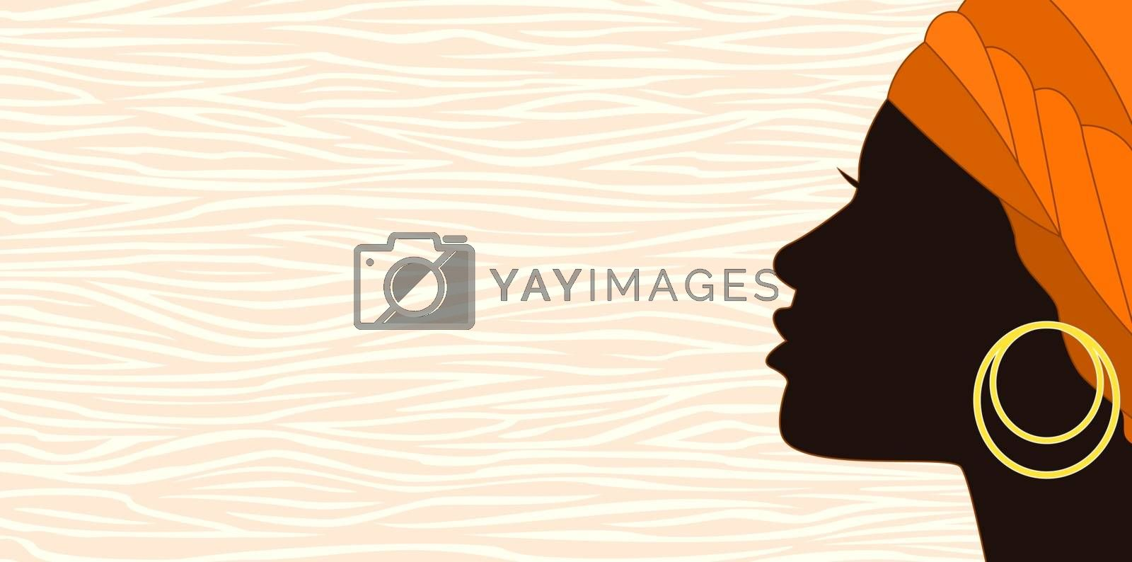 Girl with a turban and an earring. The face of a young African girl in profile on an abstract background.