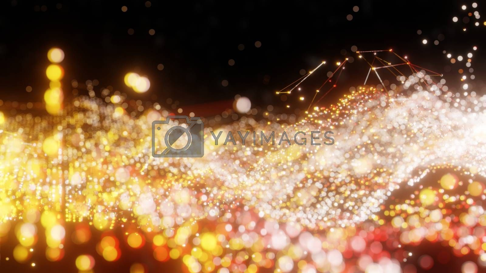 Plexus of abstract glow dots on a black background. Loop animations. 3D illustration