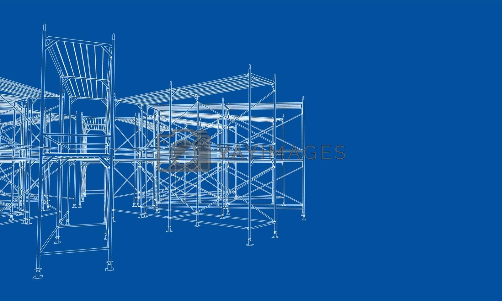 Drawing or sketch of a large shelves. Vector obtained from 3D rendering