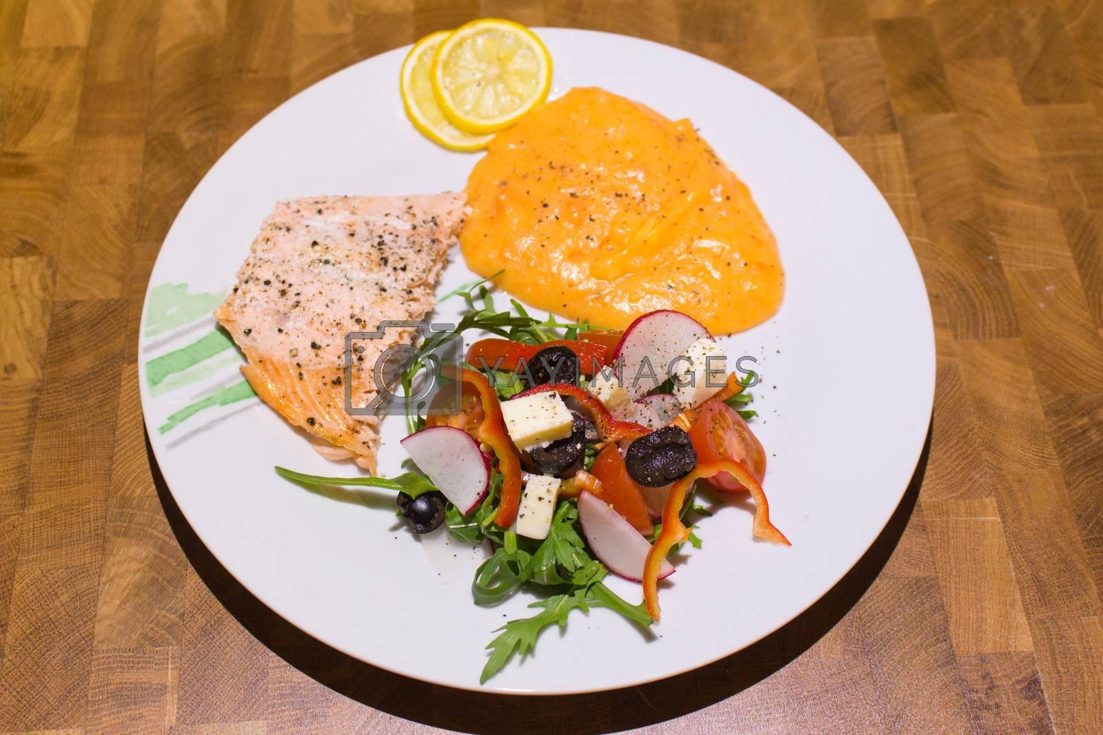 Vegetarian menu with fish home made by Robert Boss