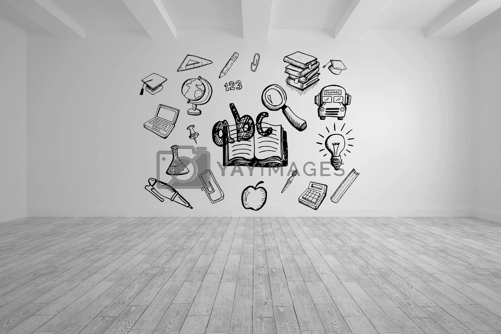Composite image of education drawing on white background