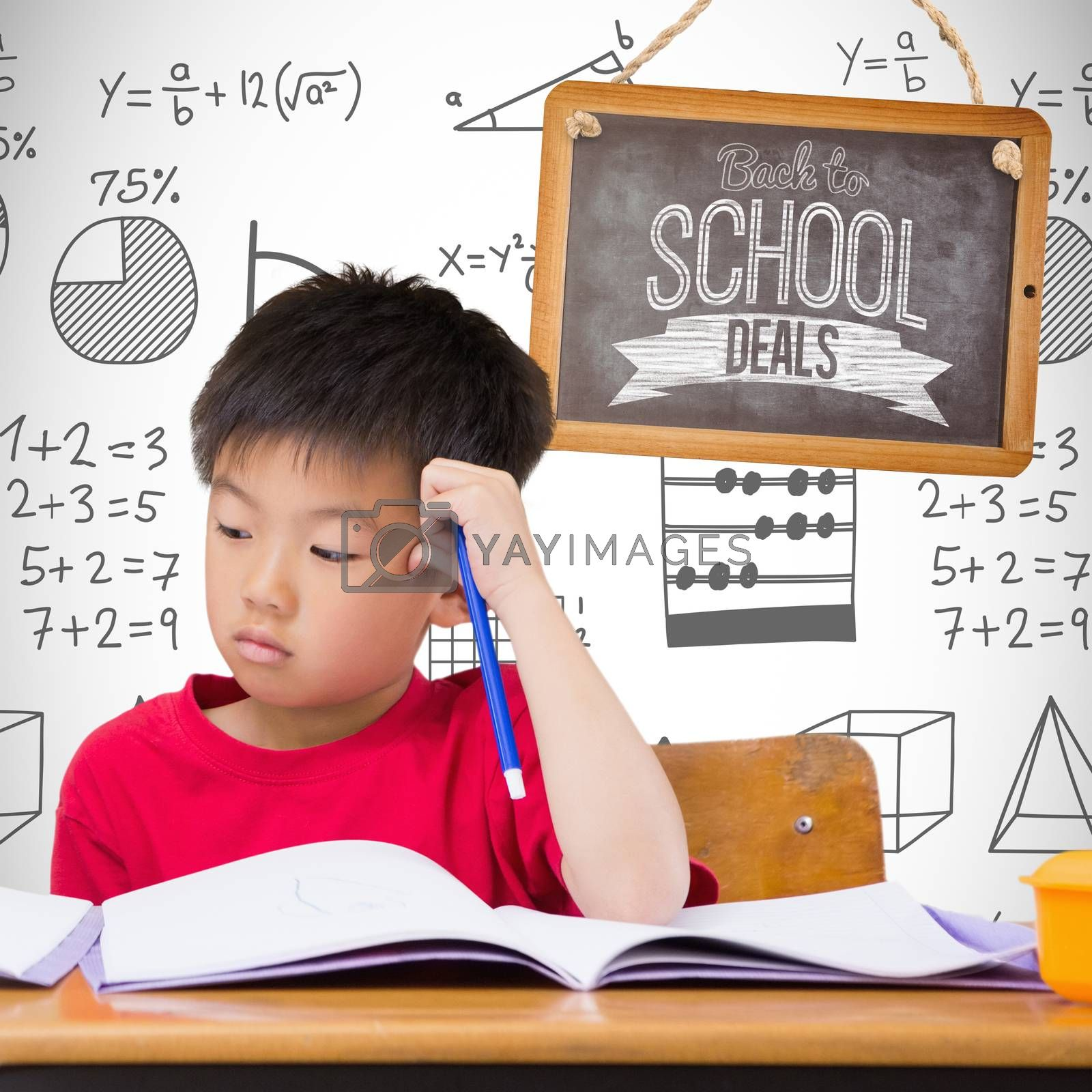 Cute pupils writing at desk in classroom against white background with vignette