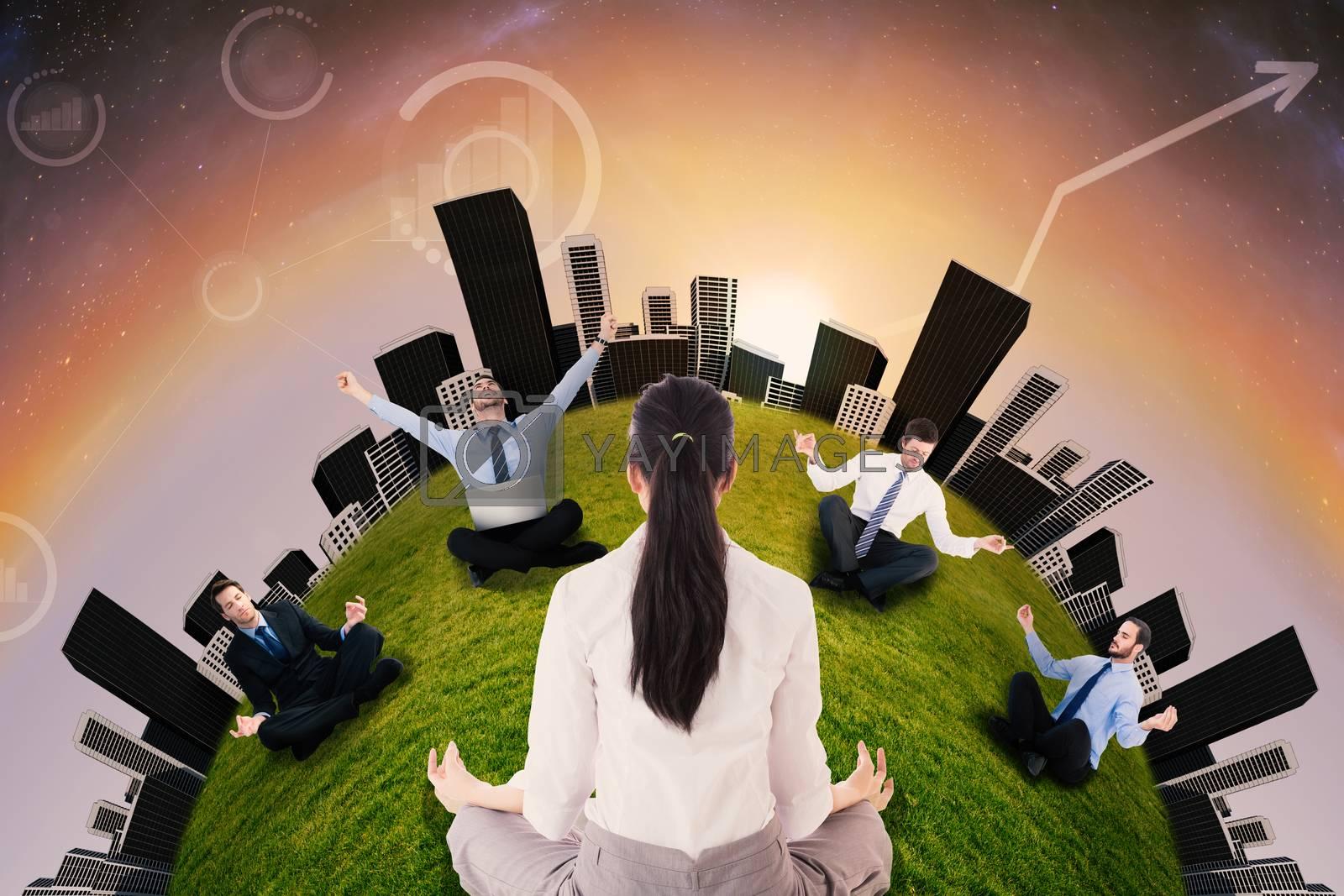 Businesswoman sitting in lotus pose against aurora in night sky