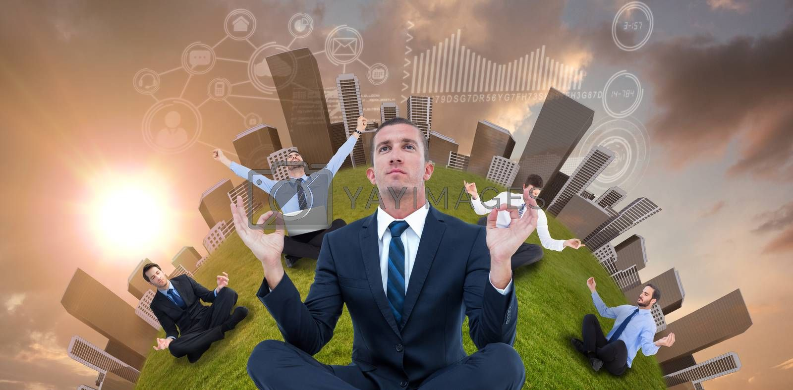 Businessman sitting cross-legged against blue and orange sky with clouds