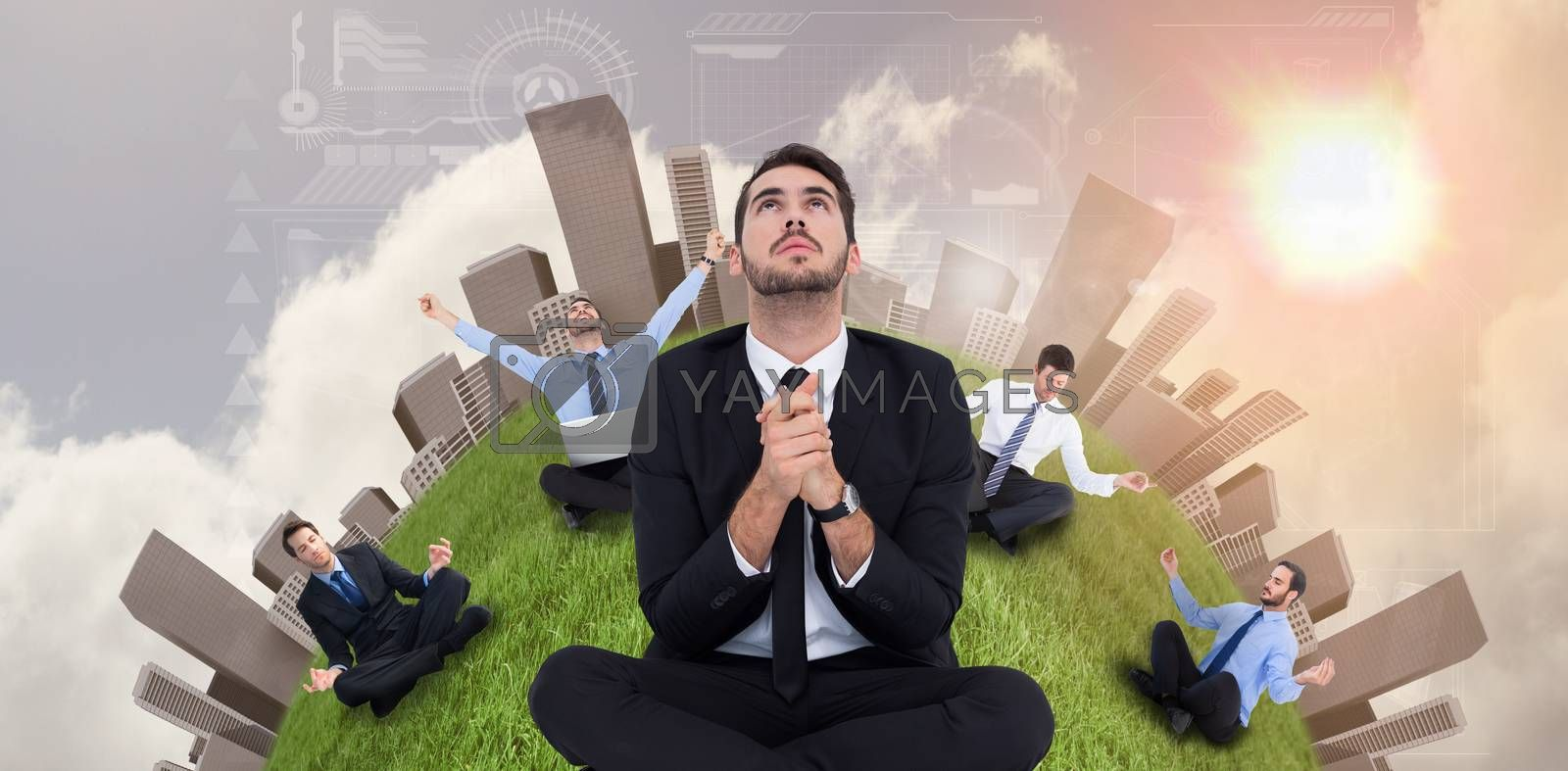 Businessman sitting praying and looking up against bright blue sky with clouds