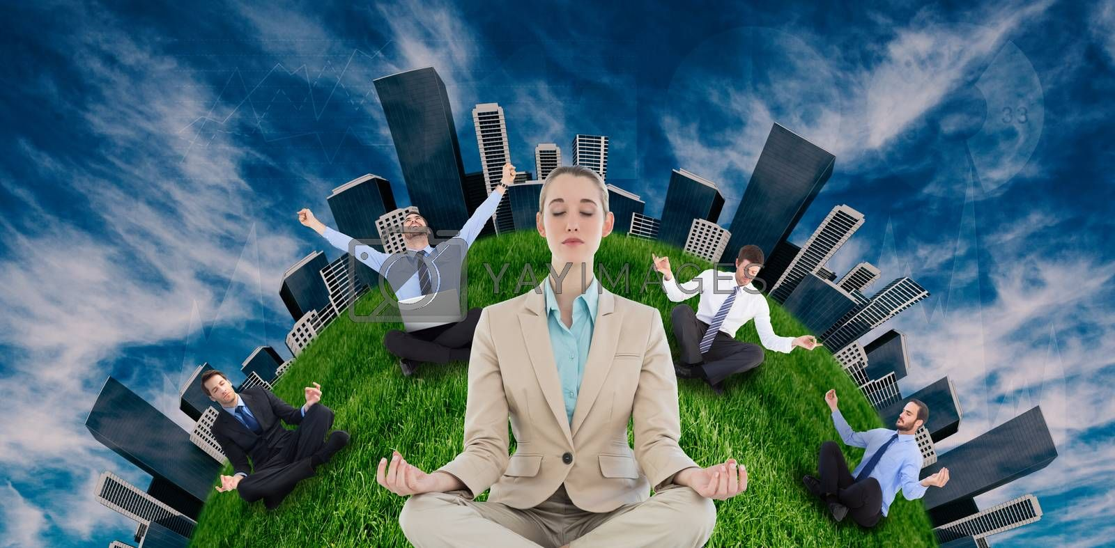 Businesswoman sitting in lotus position against view of the blue sky
