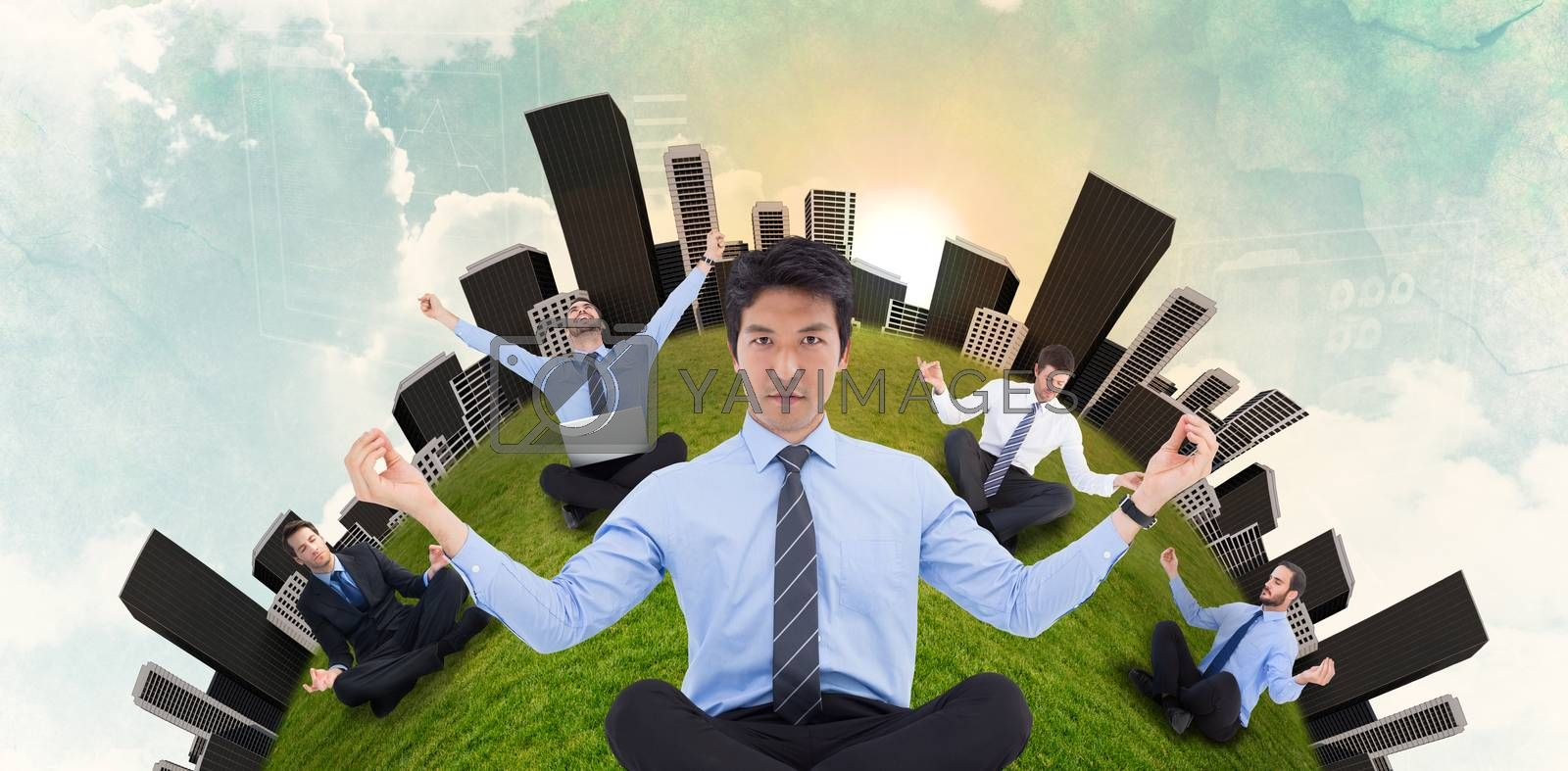 Asian businessman doing yoga against green and blue sky