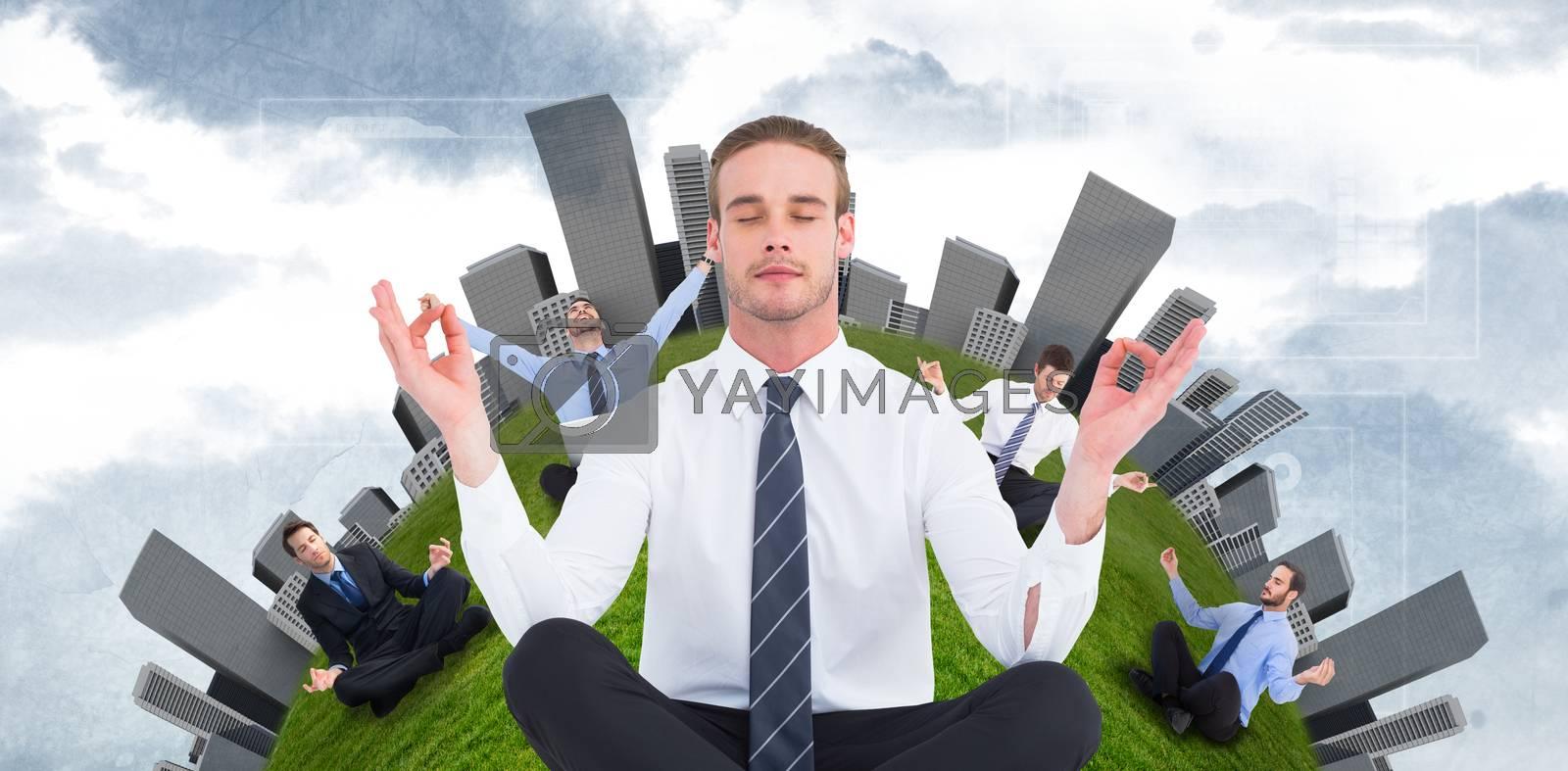 Businessman meditating in lotus pose against painted sky