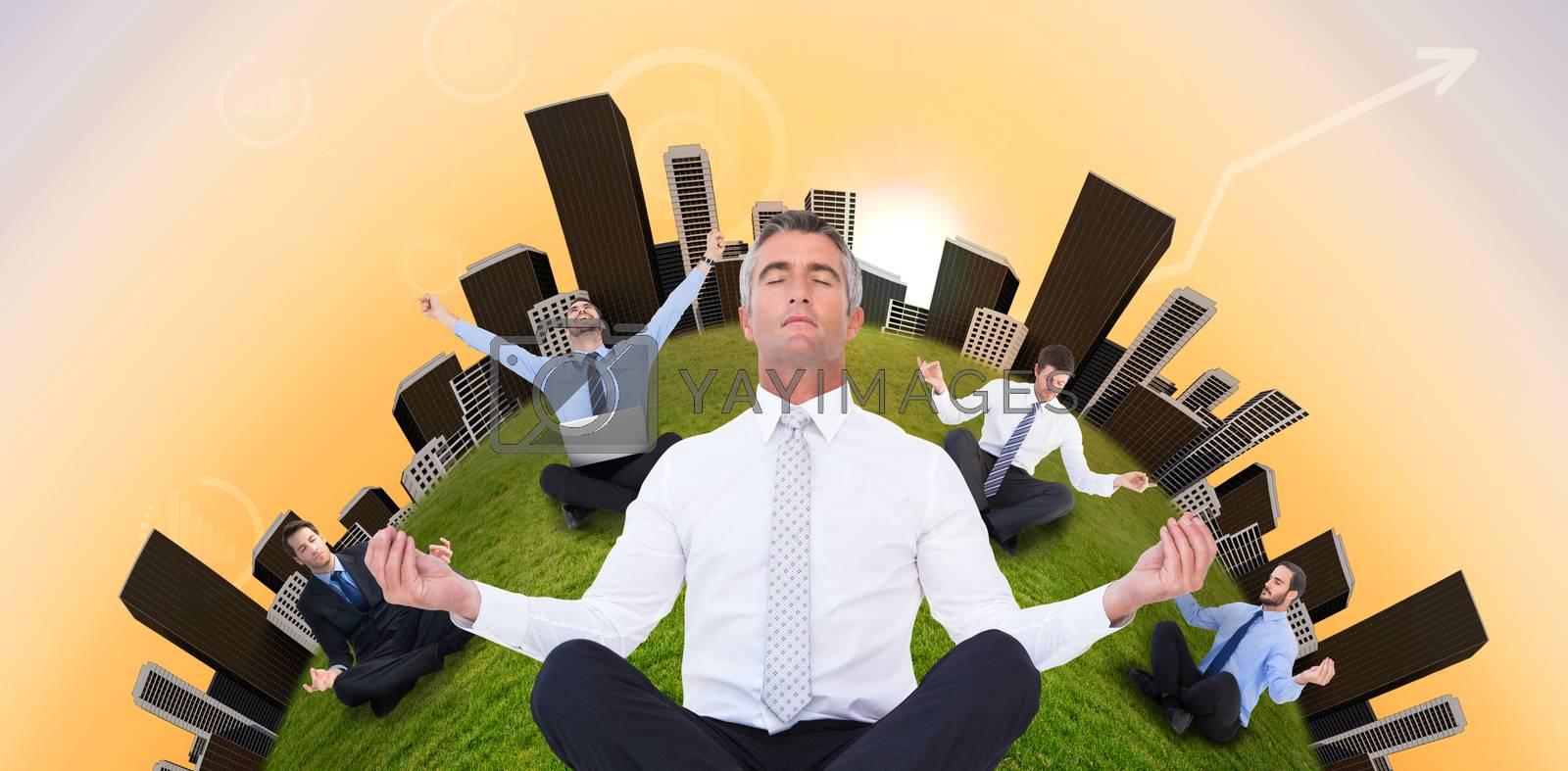 Zen businessman meditating in lotus pose  against purple and orange sky