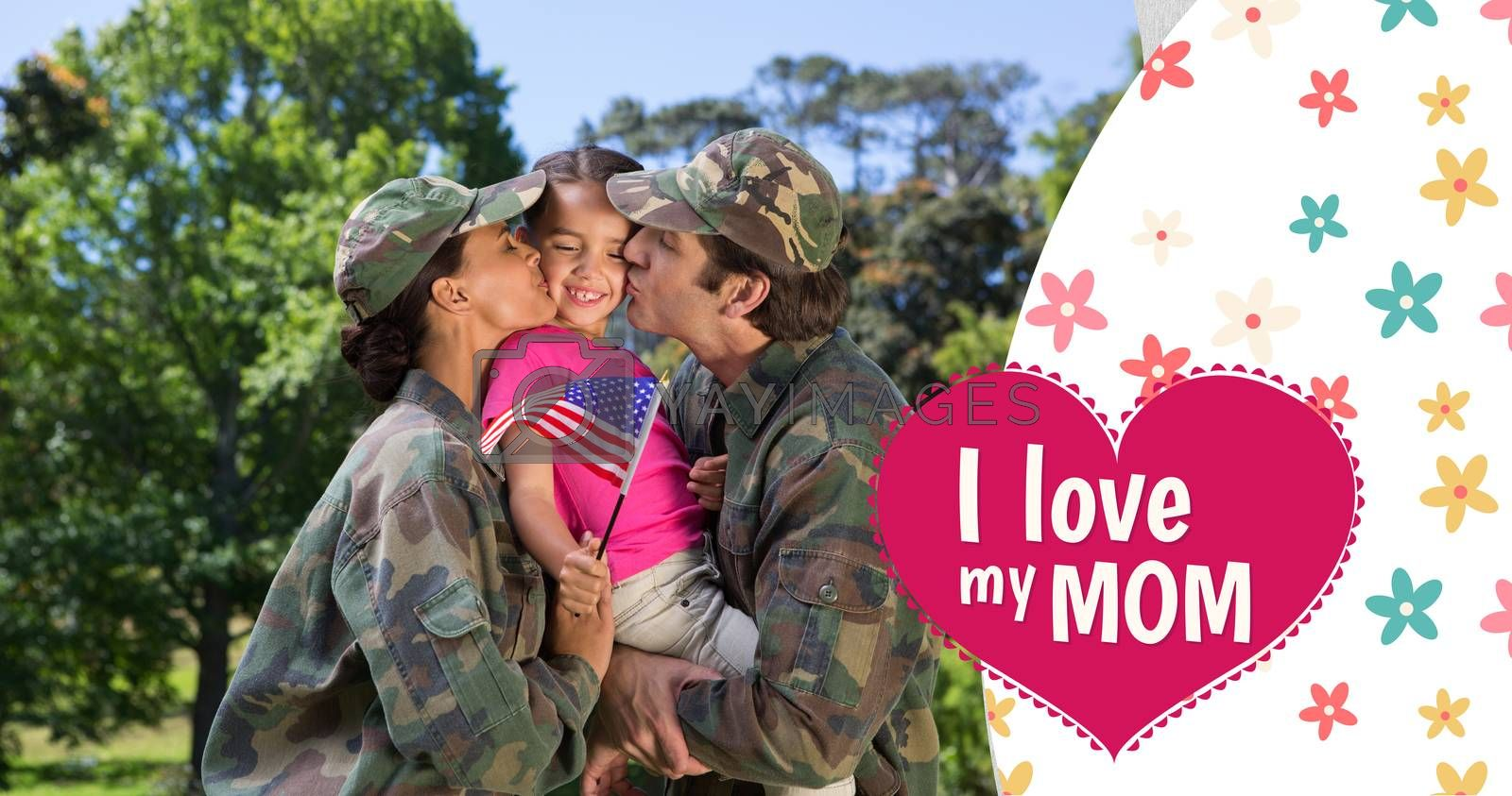 Army couple kissing daughter against mothers day greeting